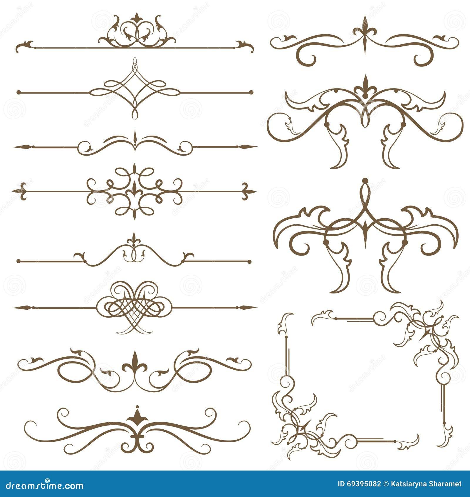 Antique Scroll Line: Antique Decorative Elements Stock Illustration