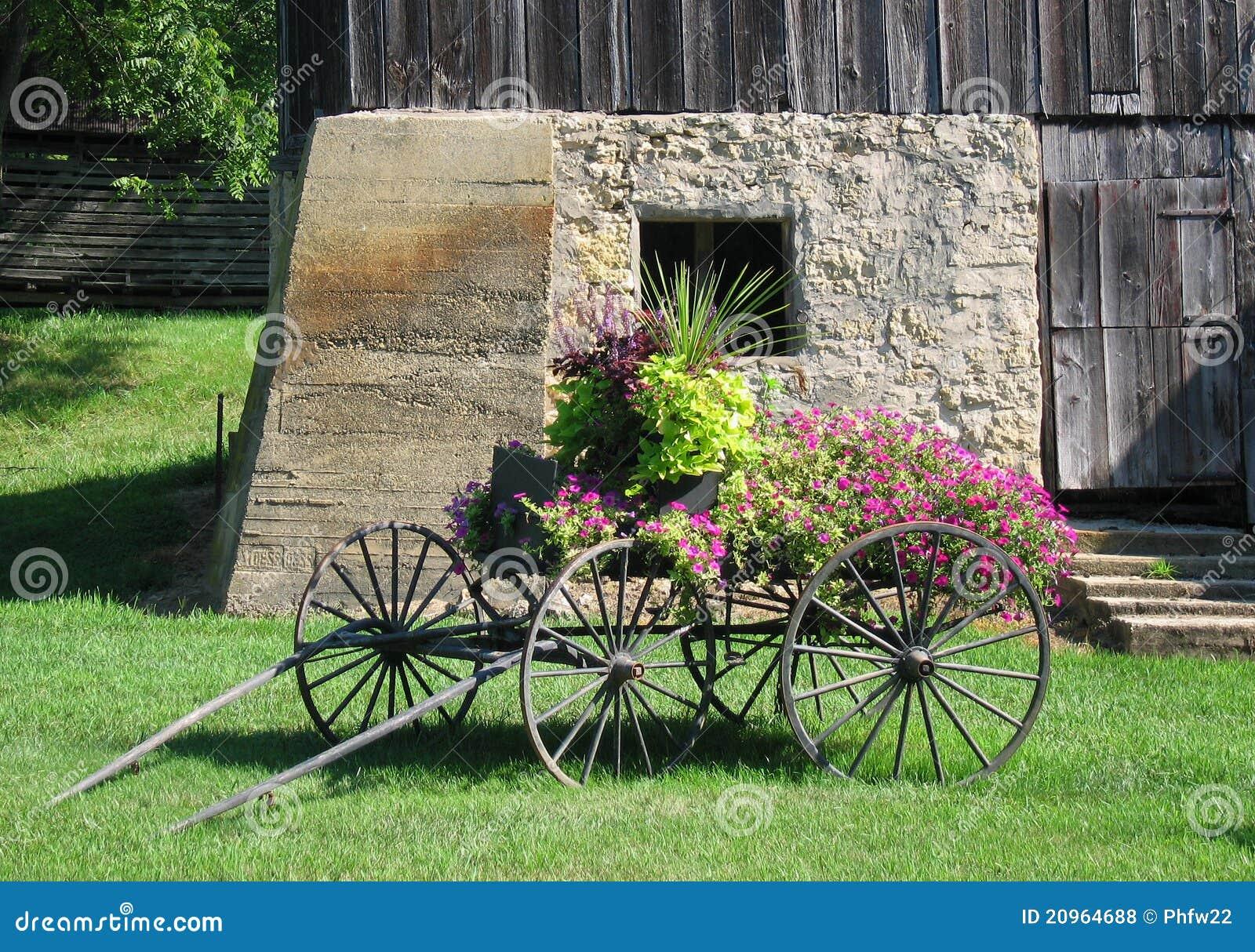 Antique Decorative Flower Cart Stock Photo - Image of horse ...