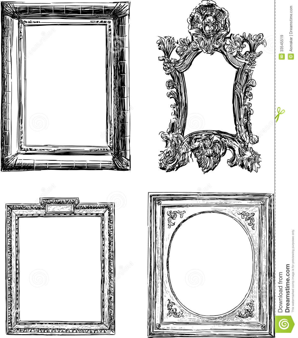 antique decorative frames vector drawing frame baroque style 33545519