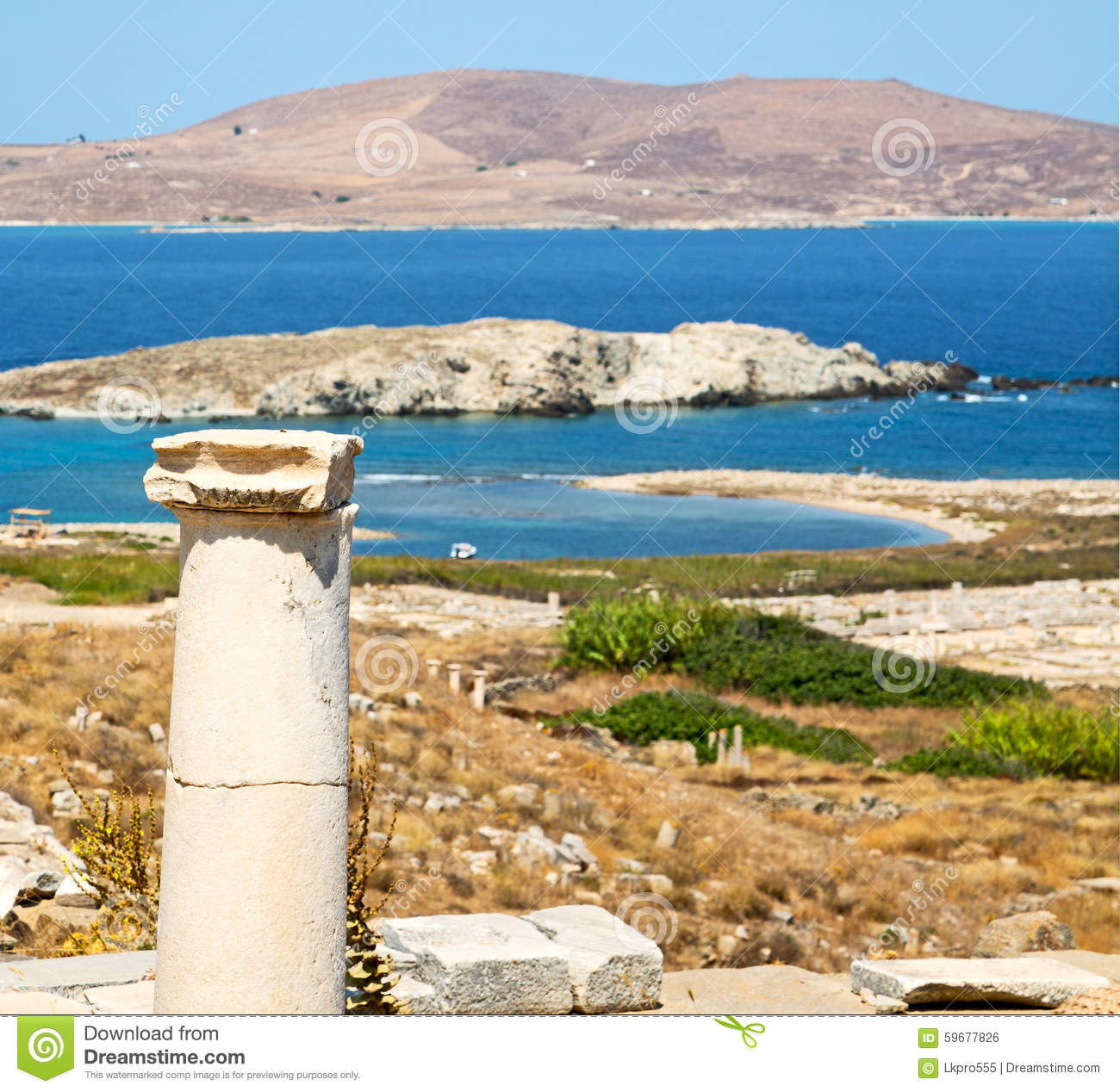 Antique In Delos Greece The Historycal Acropolis And Old Ruin S