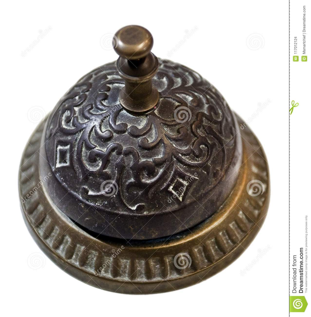Antique Desk Bell - Antique Desk Bell Stock Photo. Image Of Isolated, Reception - 117012124