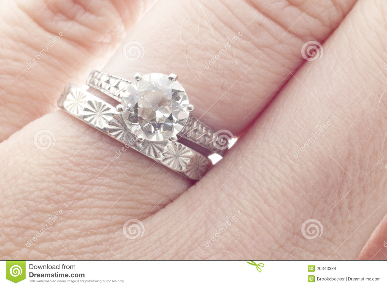 Antique Diamond Wedding Ring And Band On Finger Stock ...