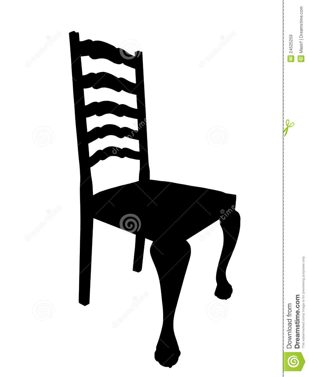 Antique Dining Table Chair Silhouette Isolation Royalty Free Stock Image
