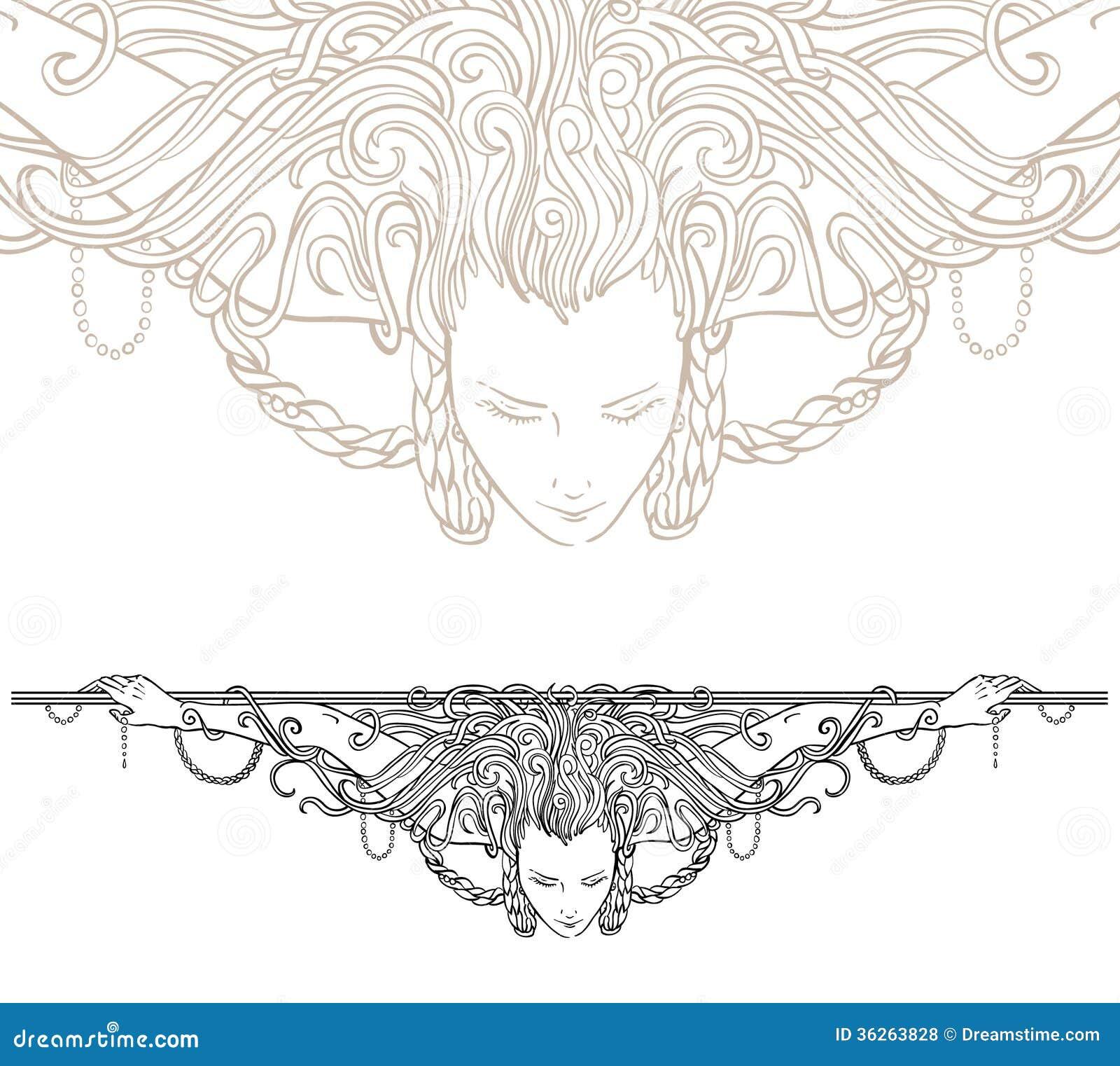 Detailed art-nouveau decorative divider as vintage engraved woman ...
