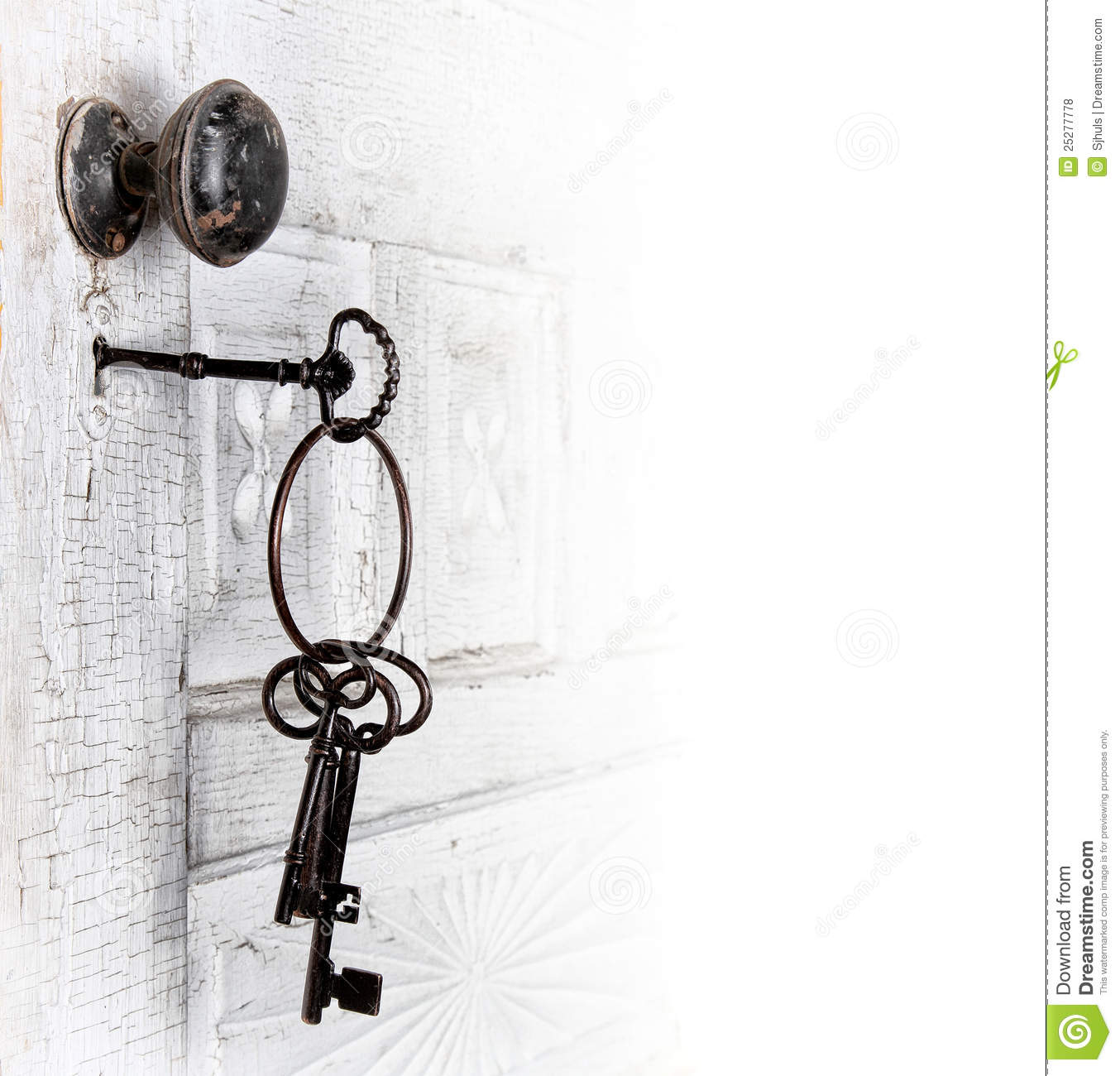 Antique Door With Keys In The Lock Royalty Free Stock