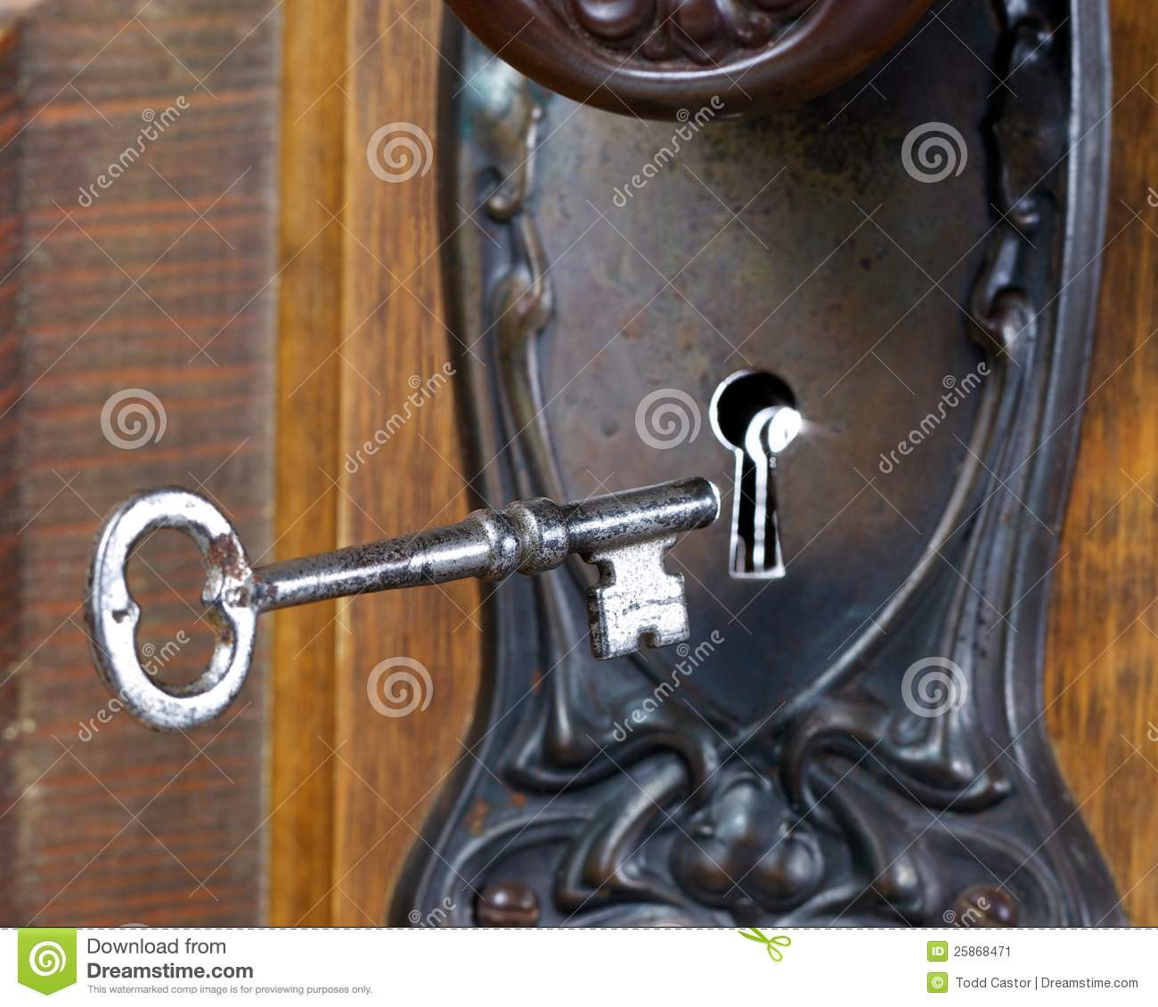 Antique door with skeleton key going into key hole & Antique Door With Skeleton Key Going Into Key Hole Stock Image ... pezcame.com