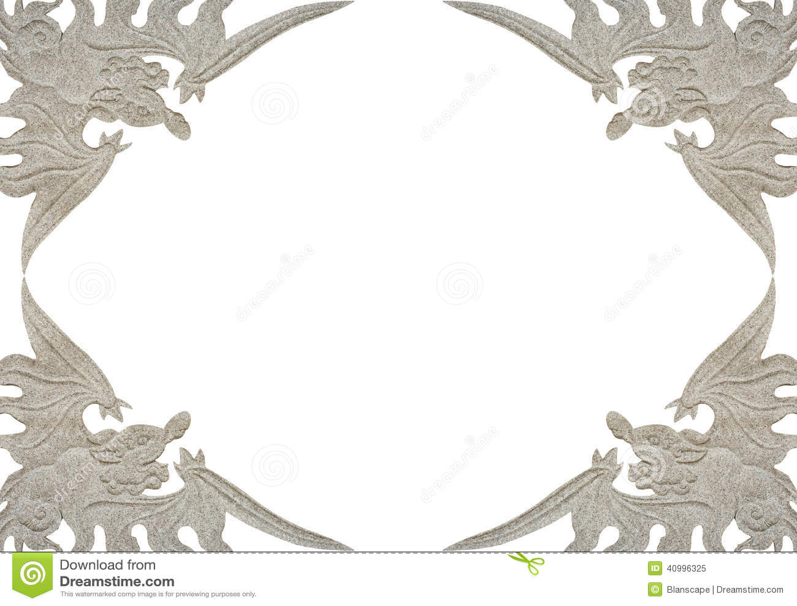 Antique Dragon Frame Isolated On White Stock Image - Image of ...