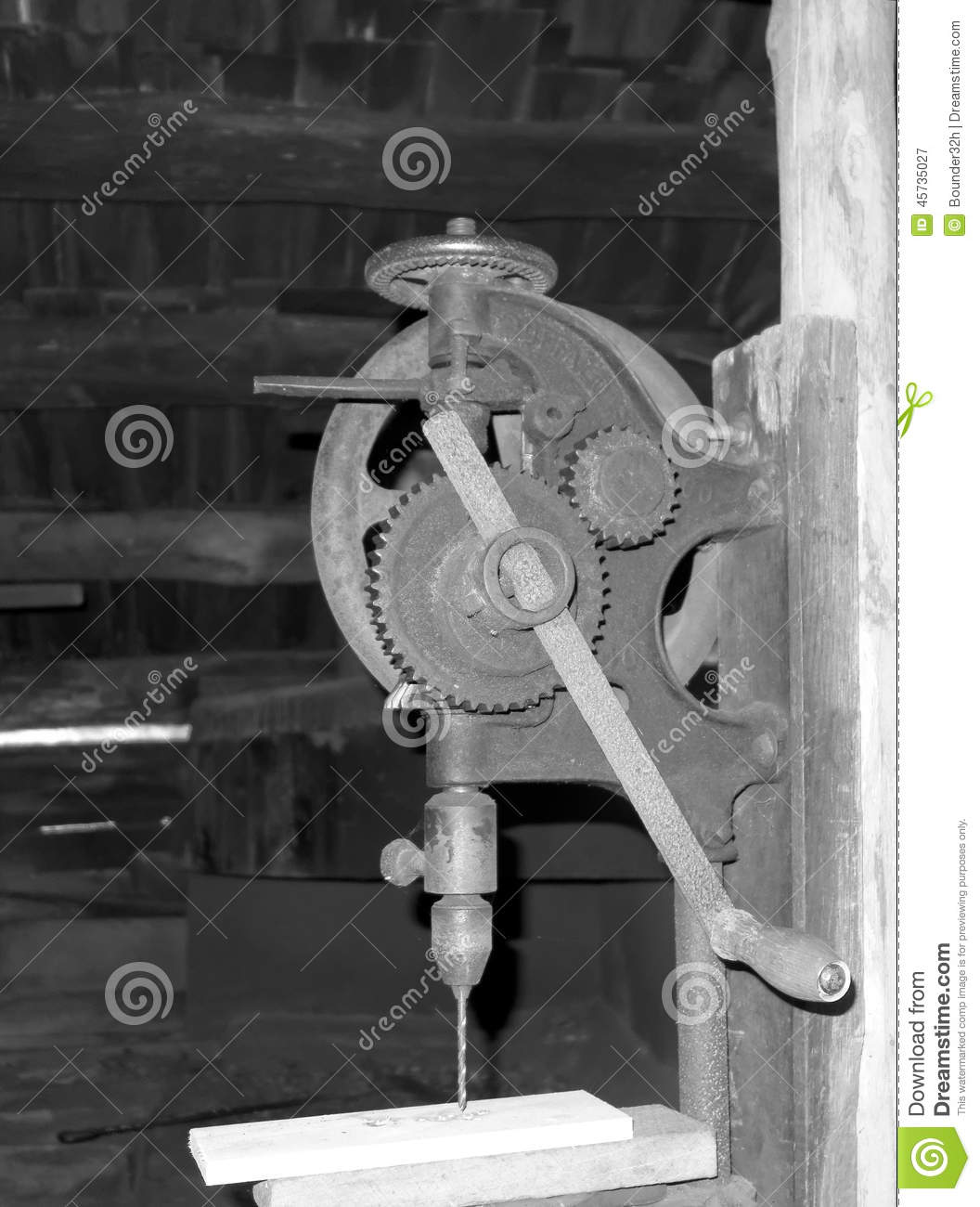 An Antique Drill Press At Mabry Mill Stock Image