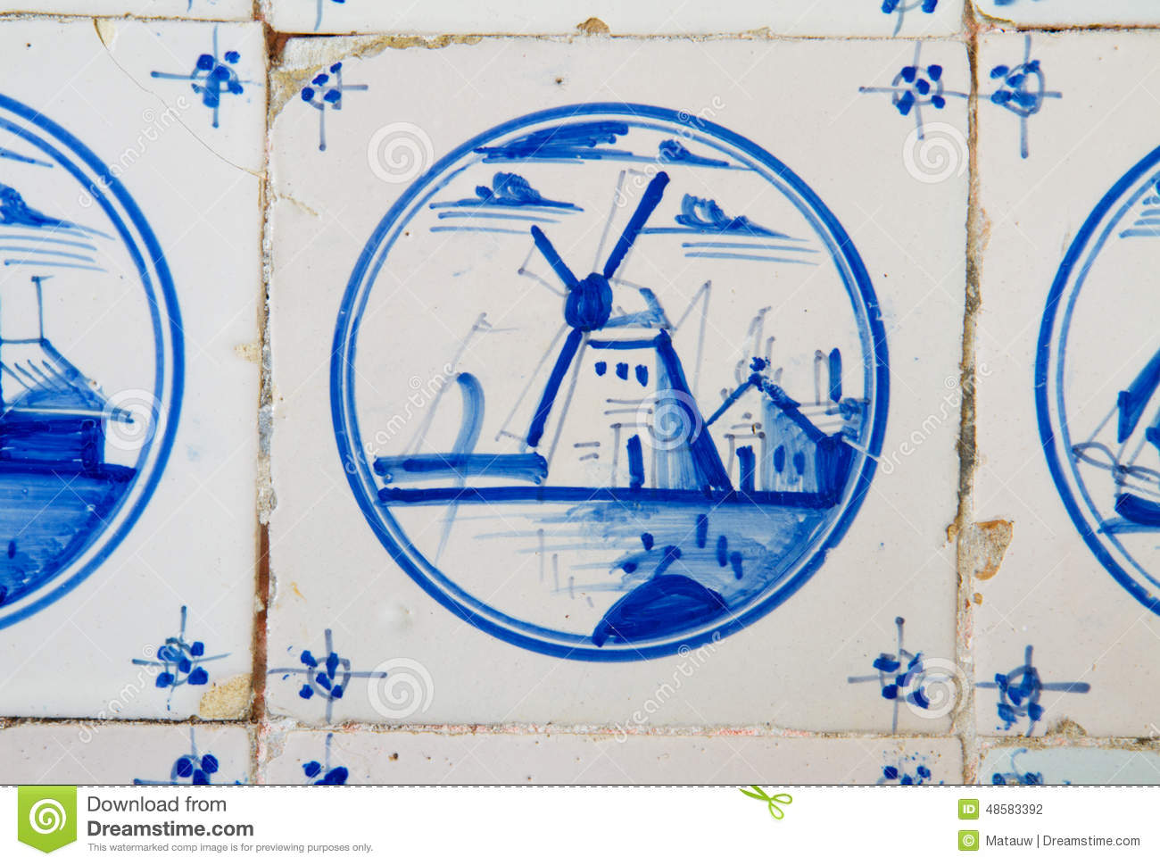 Antique Dutch Tile Stock Photo Image Of Tile Detail 48583392