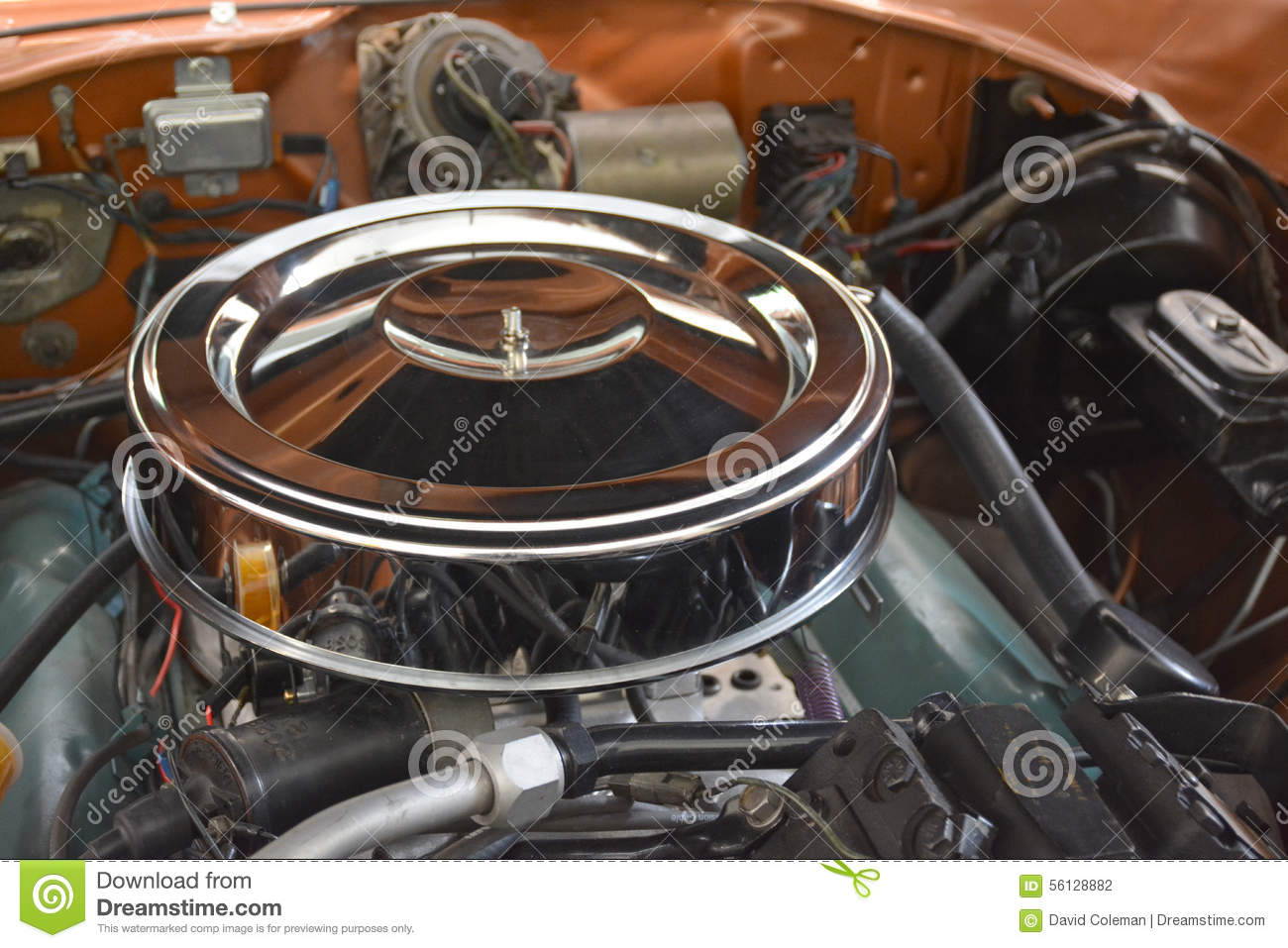 Muscle Car Engine Air Cleaners : Antique engine detail stock photo image
