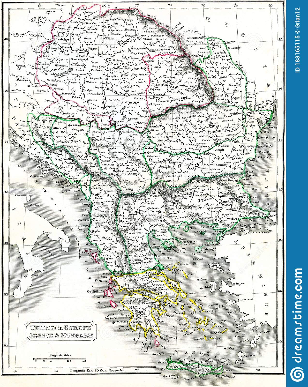 Picture of: Antique Engraving Of Historical Map Of Central And Southeastern Europe Stock Illustration Illustration Of Engraving Print 183165115