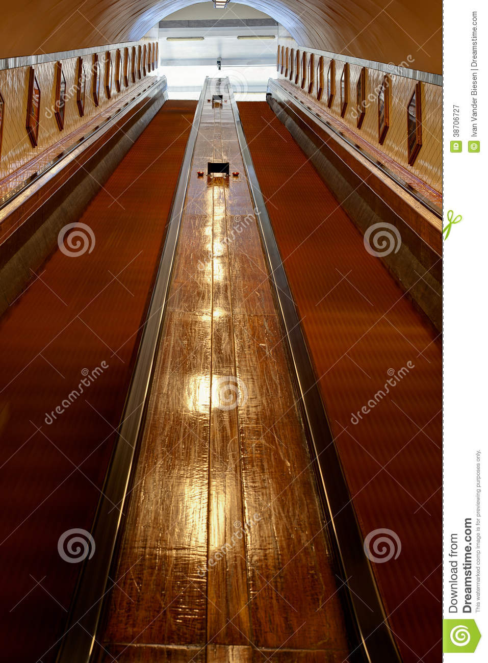 Antique Escalator Or Moving Staircase Royalty Free Stock