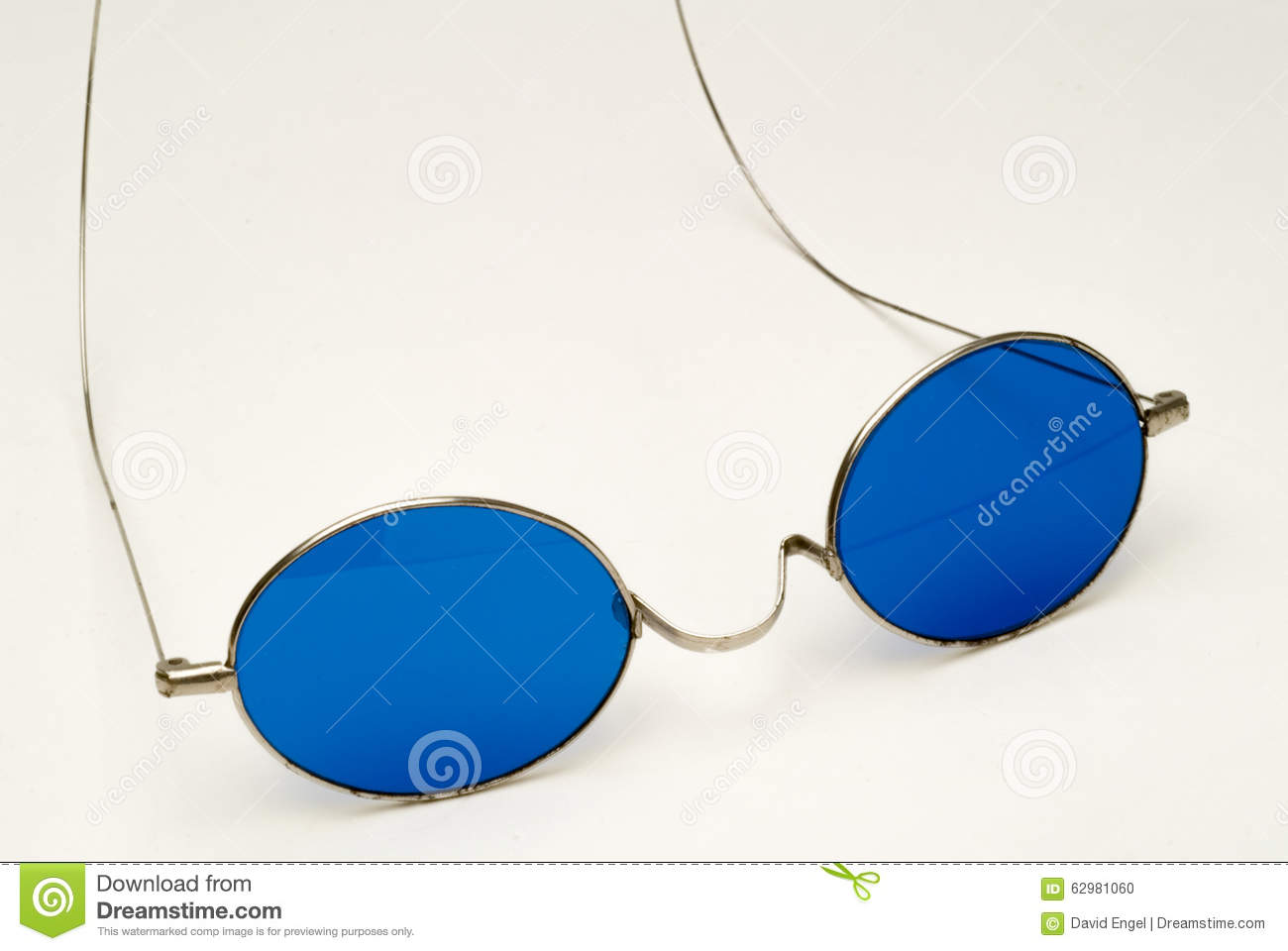 Antique Eyeglasses With Blue Lenses And Wire Frame Stock Photo ...