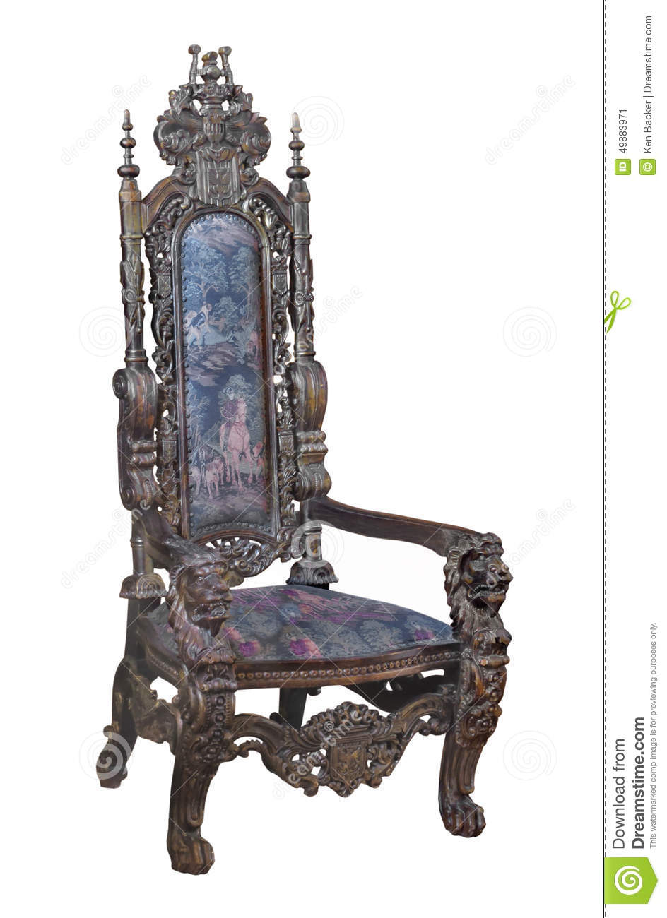 High back antique chairs - Antique Fancy Carved Wooden Chair Isolated
