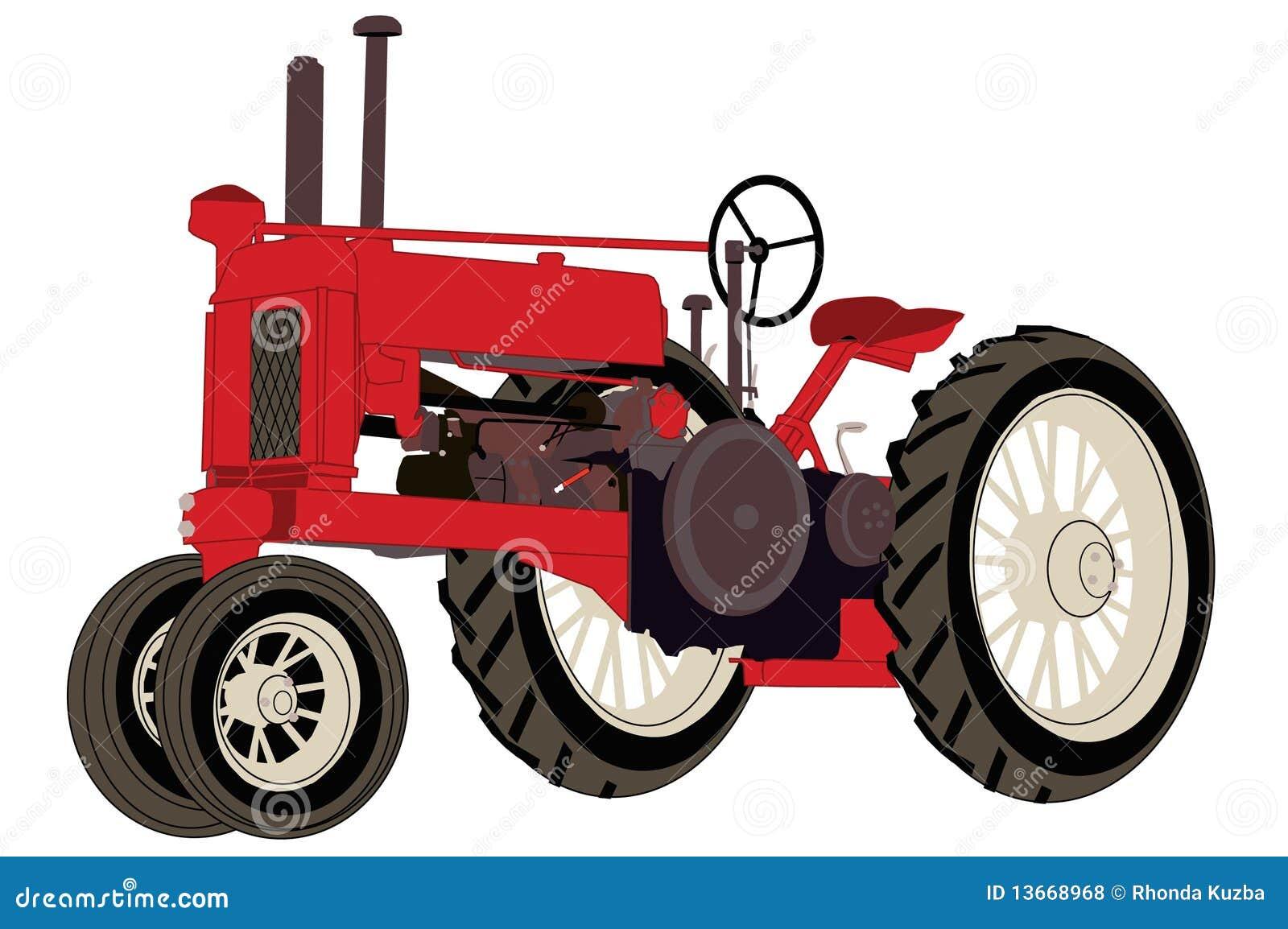 Antique Farm Tractor stock illustration. Illustration of ...