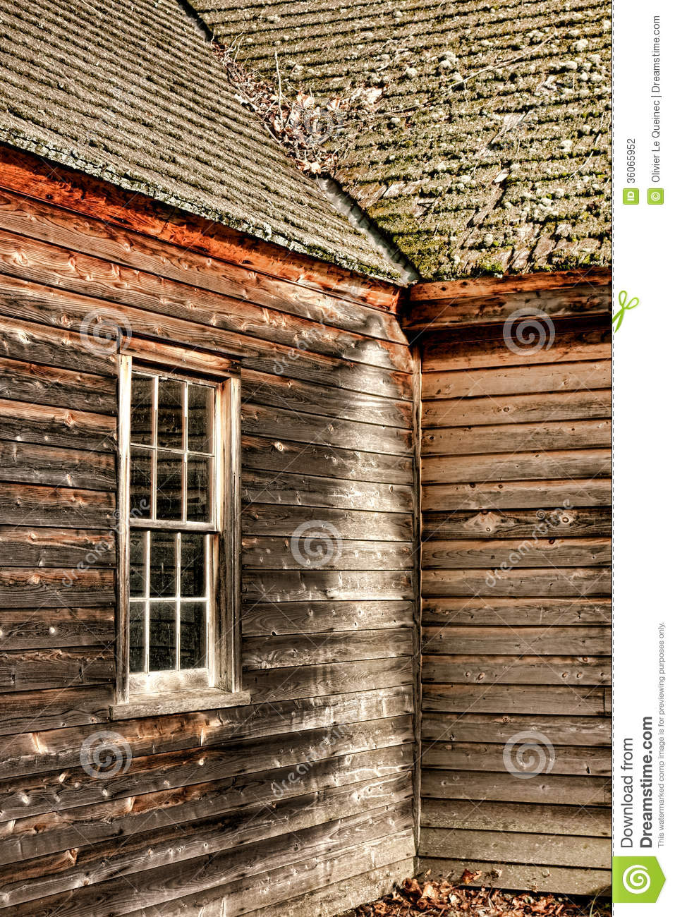 Antique Farmhouse Old Window And Clapboard Siding Stock