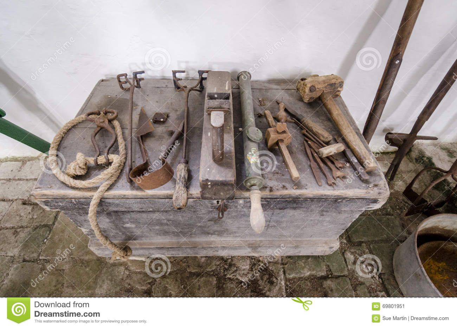 Antique Farming Equipment Various Hand Tools Stock Image Image