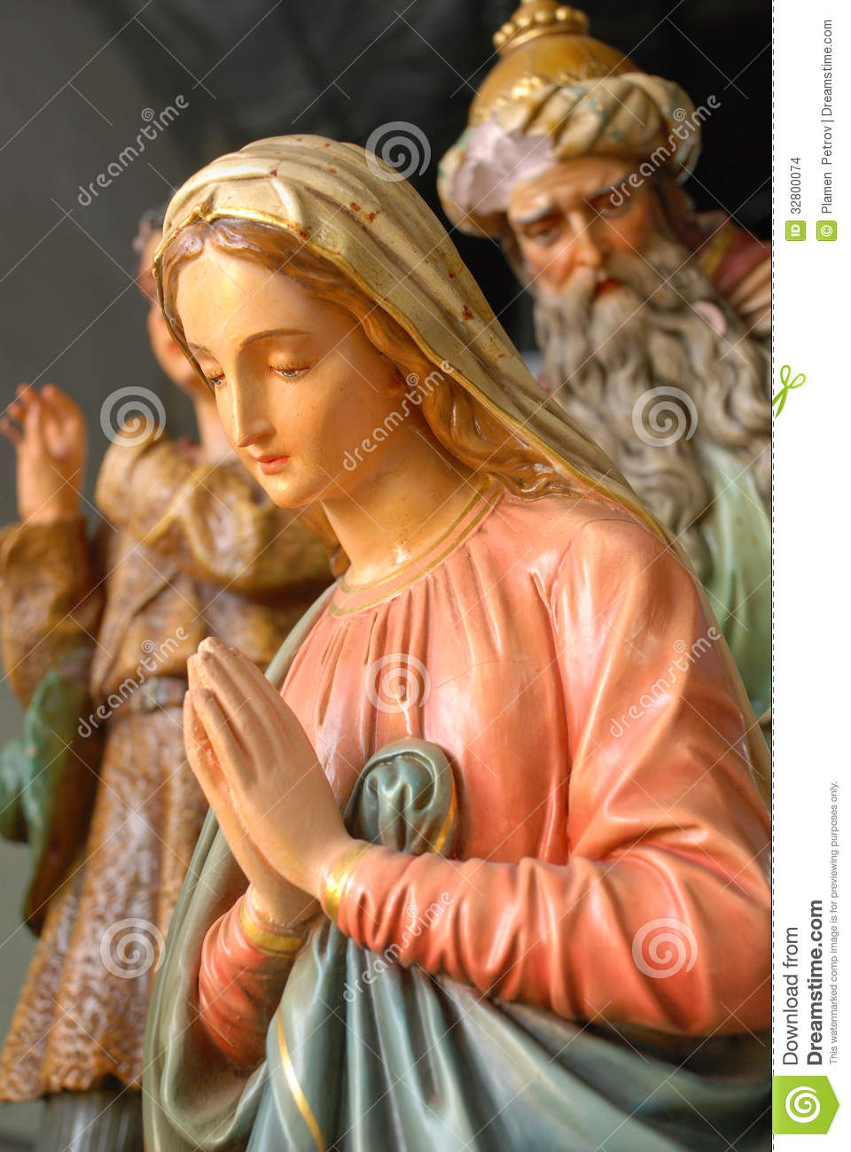 Antique Figurines Of Mary And A King Stock Photo Image