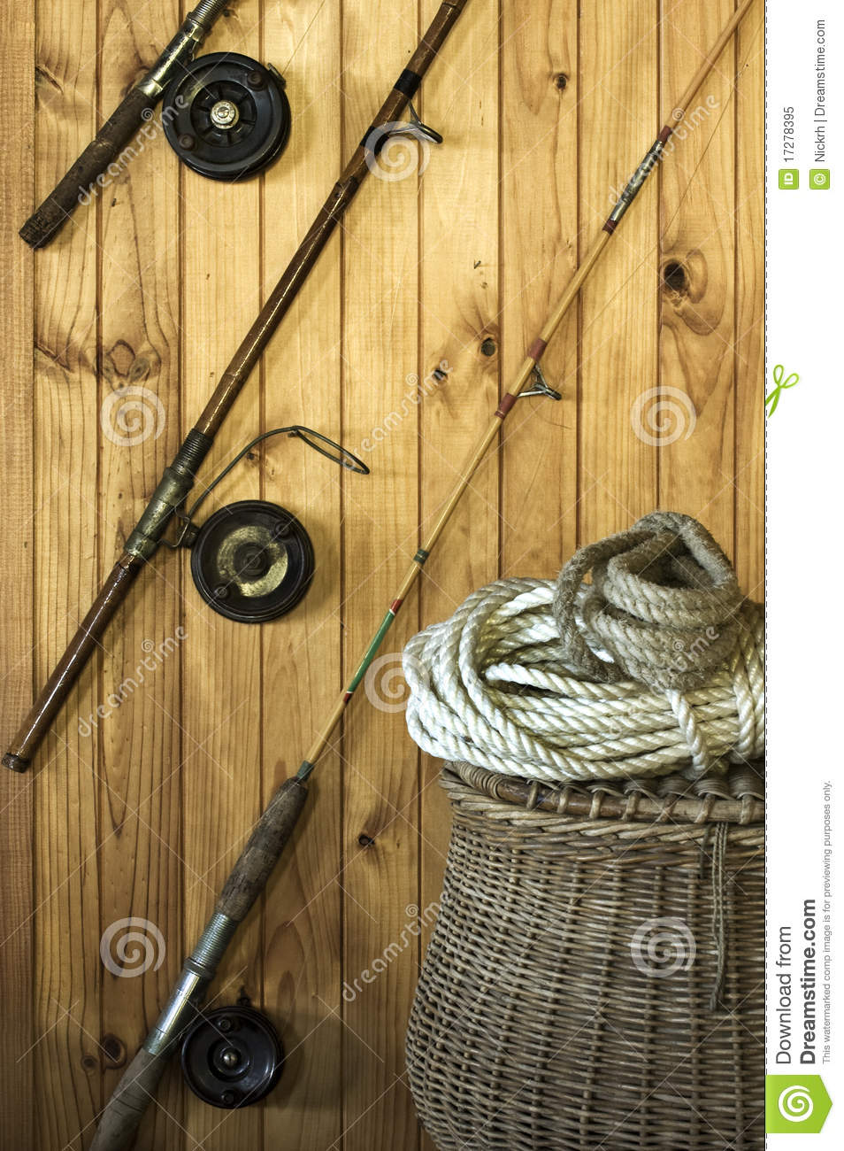 Antique fishing equipment royalty free stock photo image for Wall fishing tools