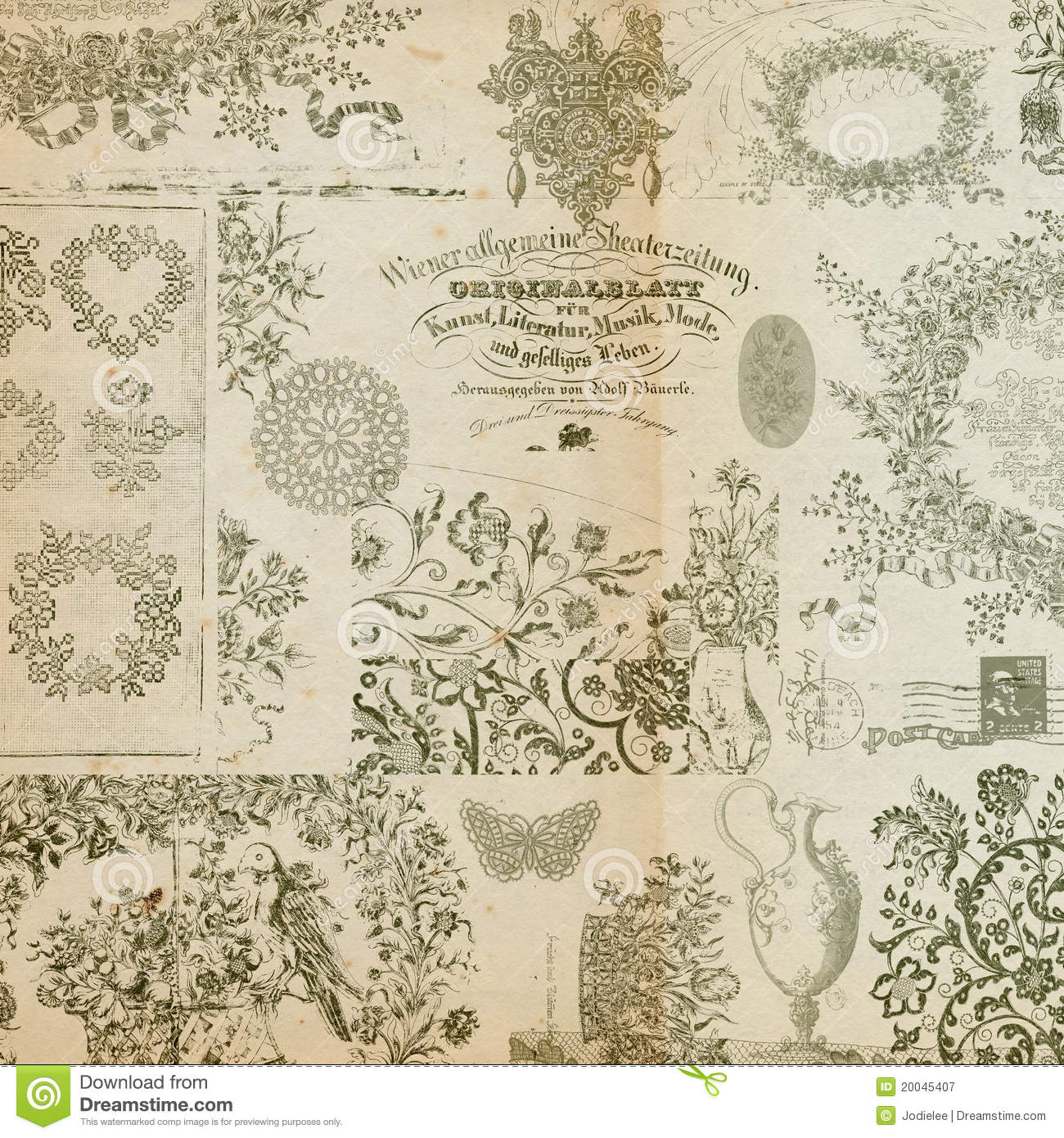 Antique floral montage or collage background royalty free - Papel pared vintage ...