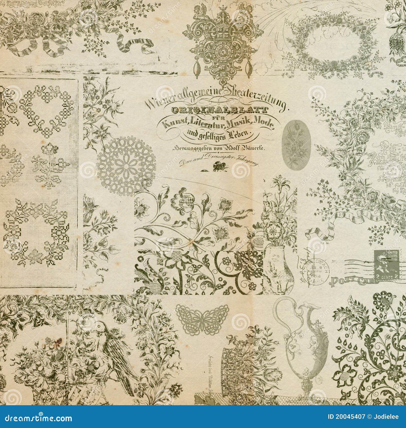 Antique floral montage or collage background royalty free - Papel de pared retro ...