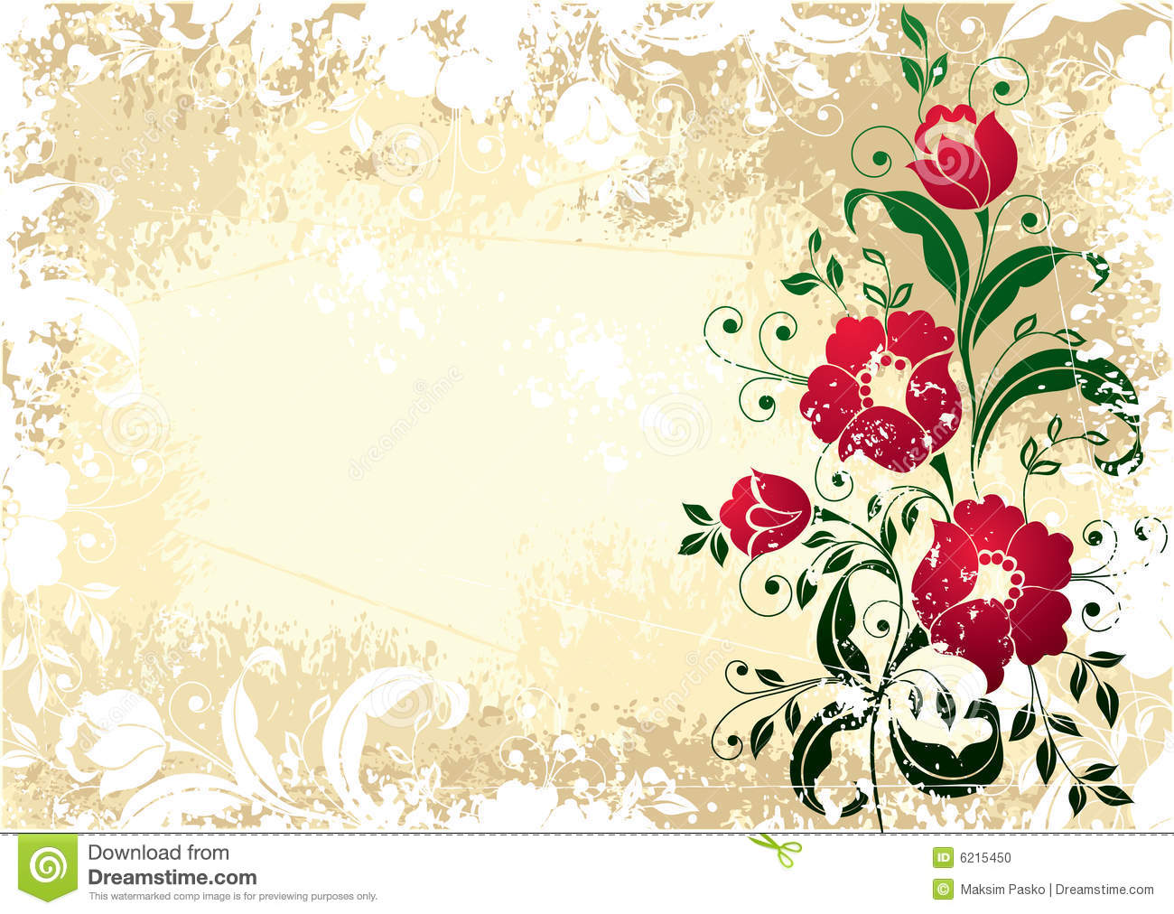 Antique Flowery Border Stock Photo Image 6215450