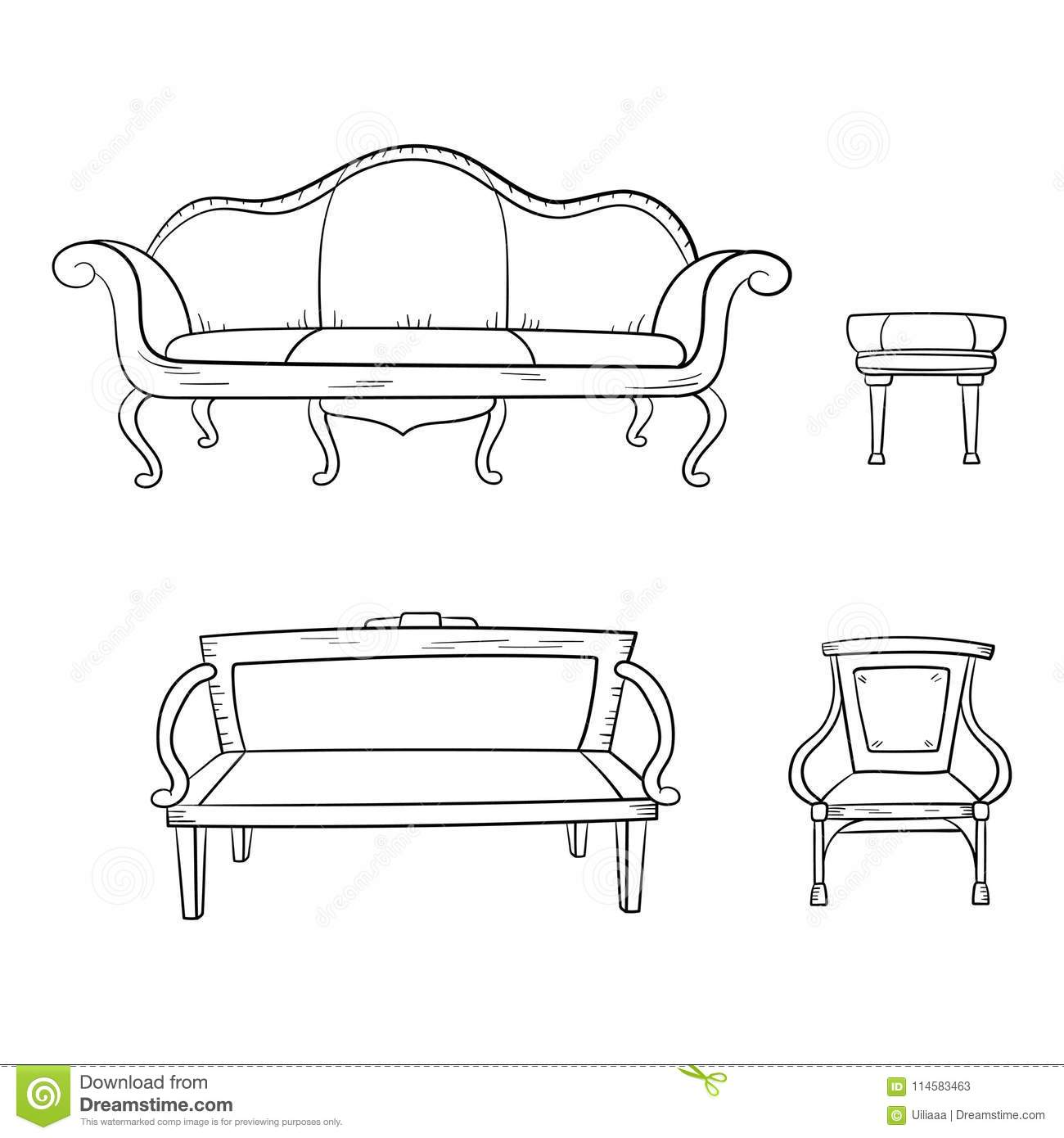 Magnificent Antique Furniture Set Chair Couch Sofa Chair Isolated Pdpeps Interior Chair Design Pdpepsorg