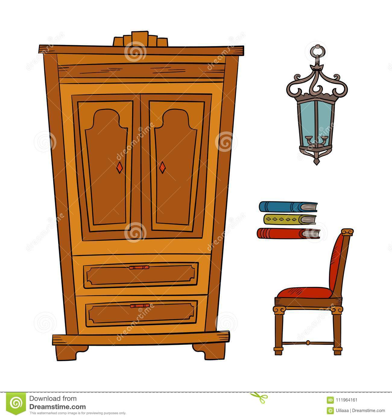 Antique Furniture Set   Closet, Lamp, Book, Chairs Isolated On White
