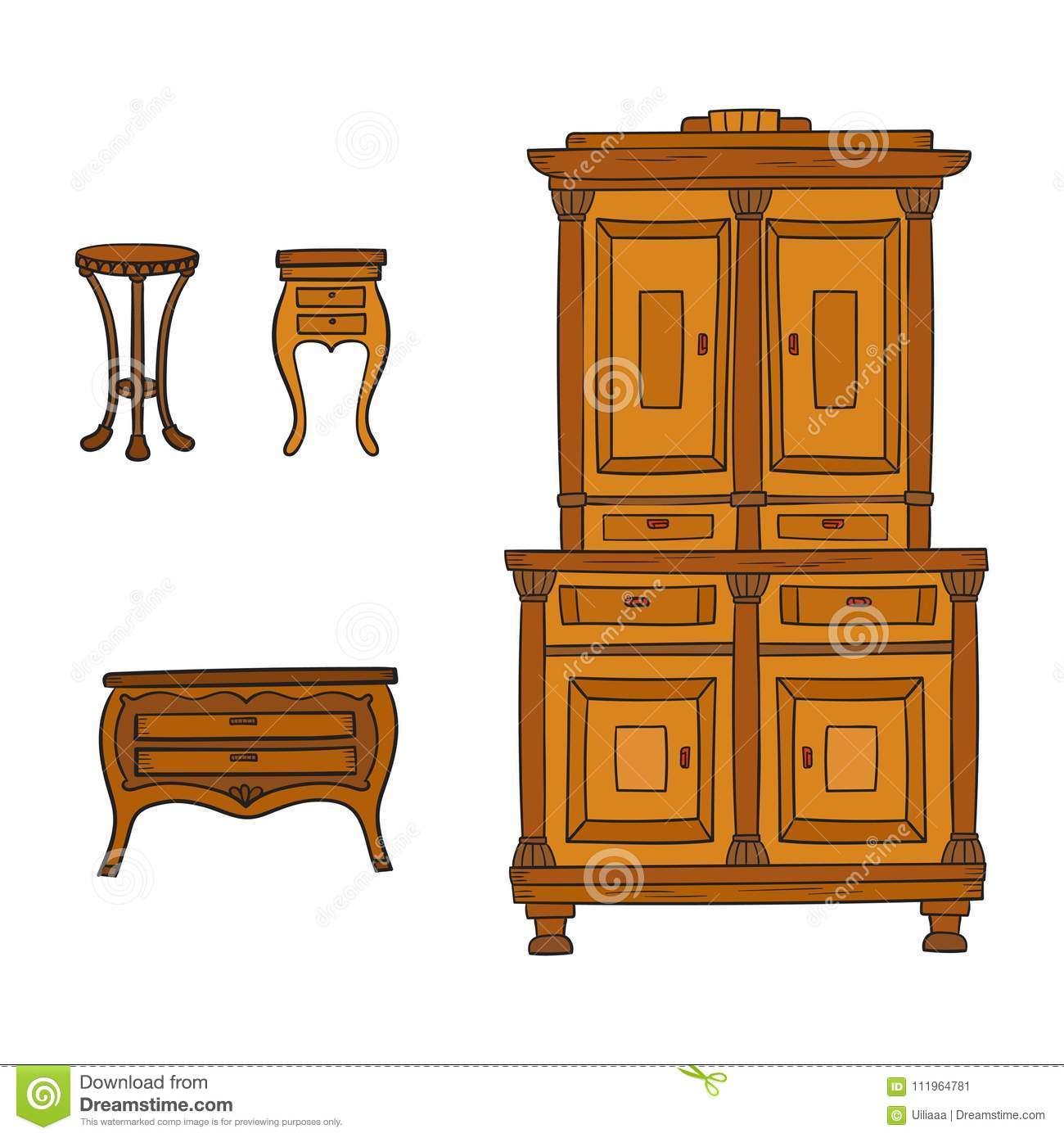Download Antique Furniture Set   Closet, Nightstand And Bureau Isolated On  White Stock Vector