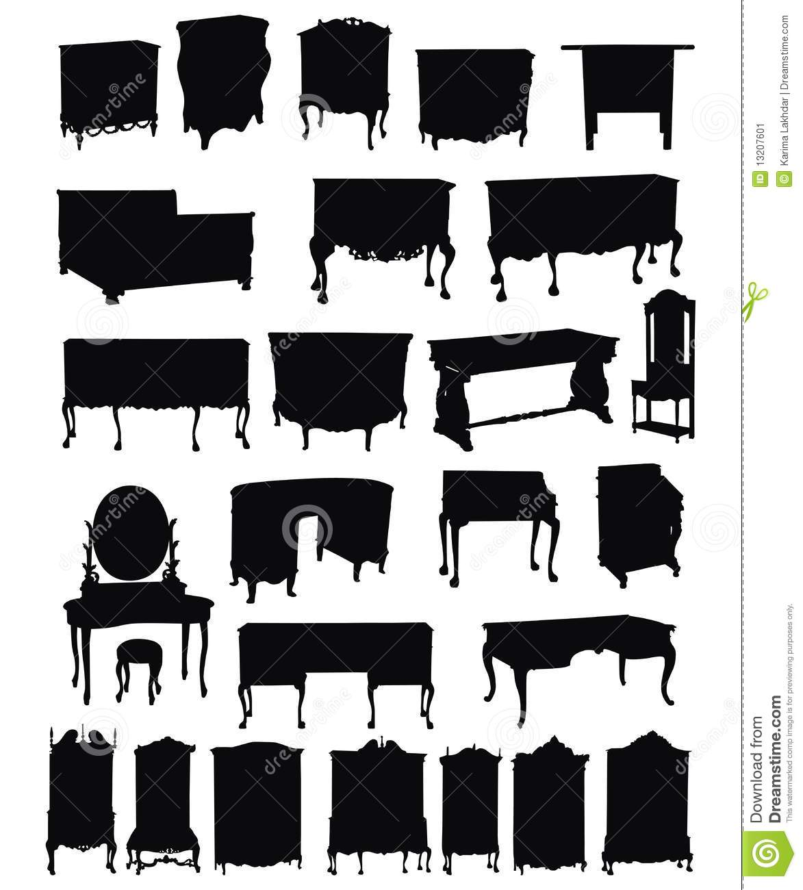 Antique chair silhouette - Antique Furniture Silhouettes