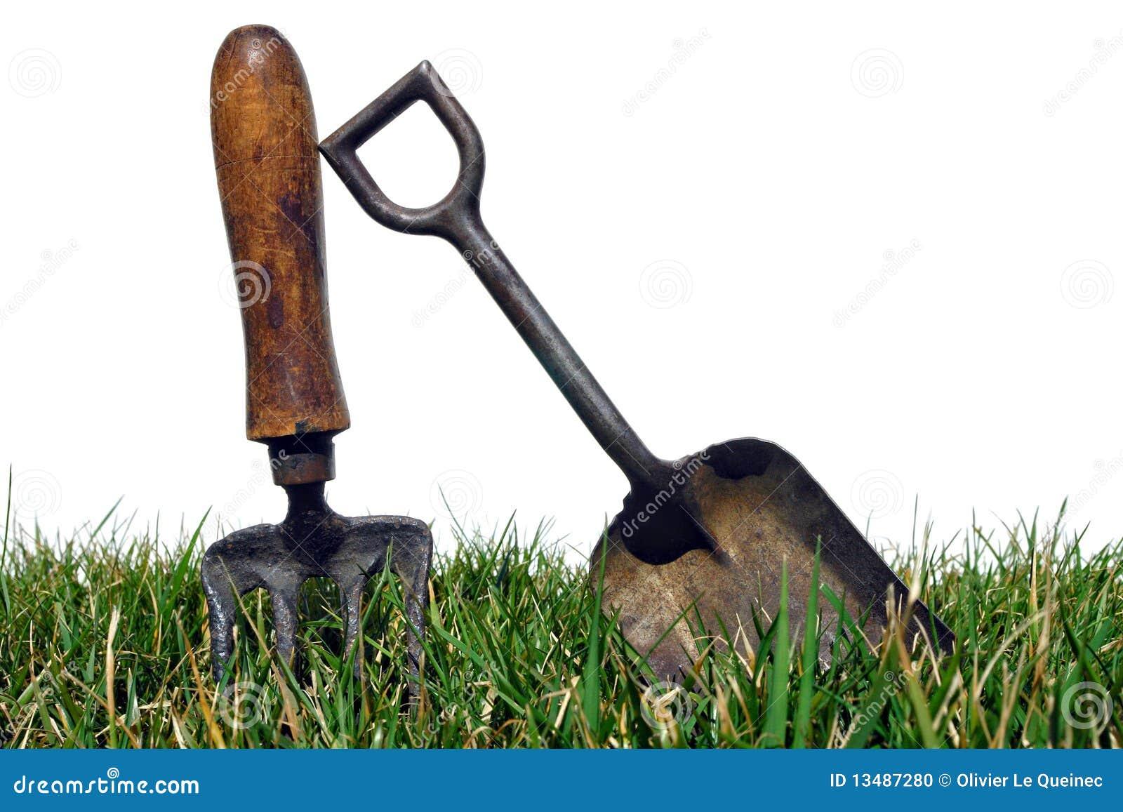 Charmant Antique Gardening Tools In Garden Grass On White
