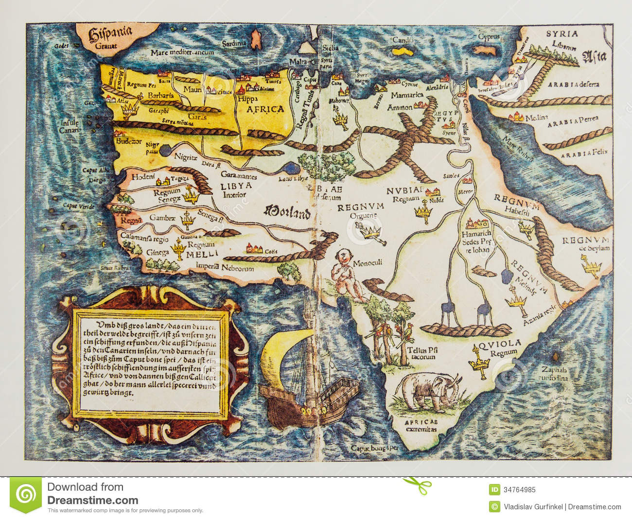 Antique German Map Of Africa Stock Image   Image of heritage
