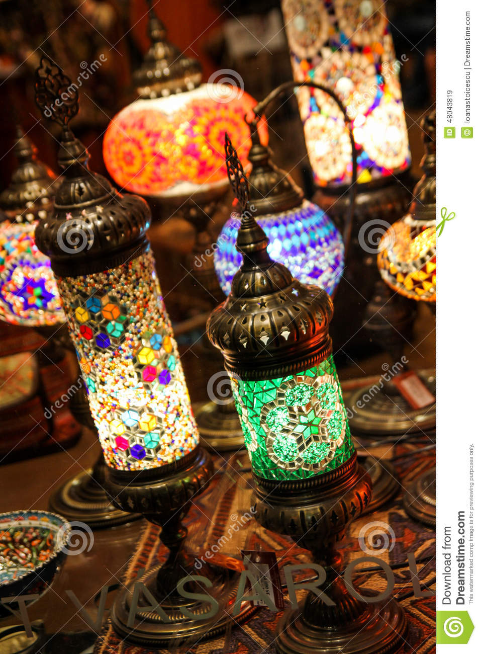 Antique glass mosaic table lamps stock image image 48043819 for Table mosaic xl 6 chaises encastrables