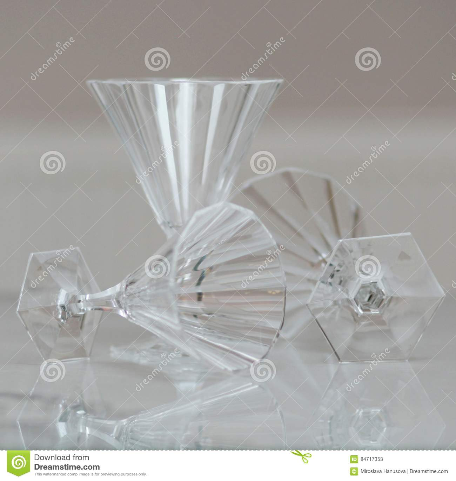 Antique Glass Set Still Life 5  Stock Image - Image of deco
