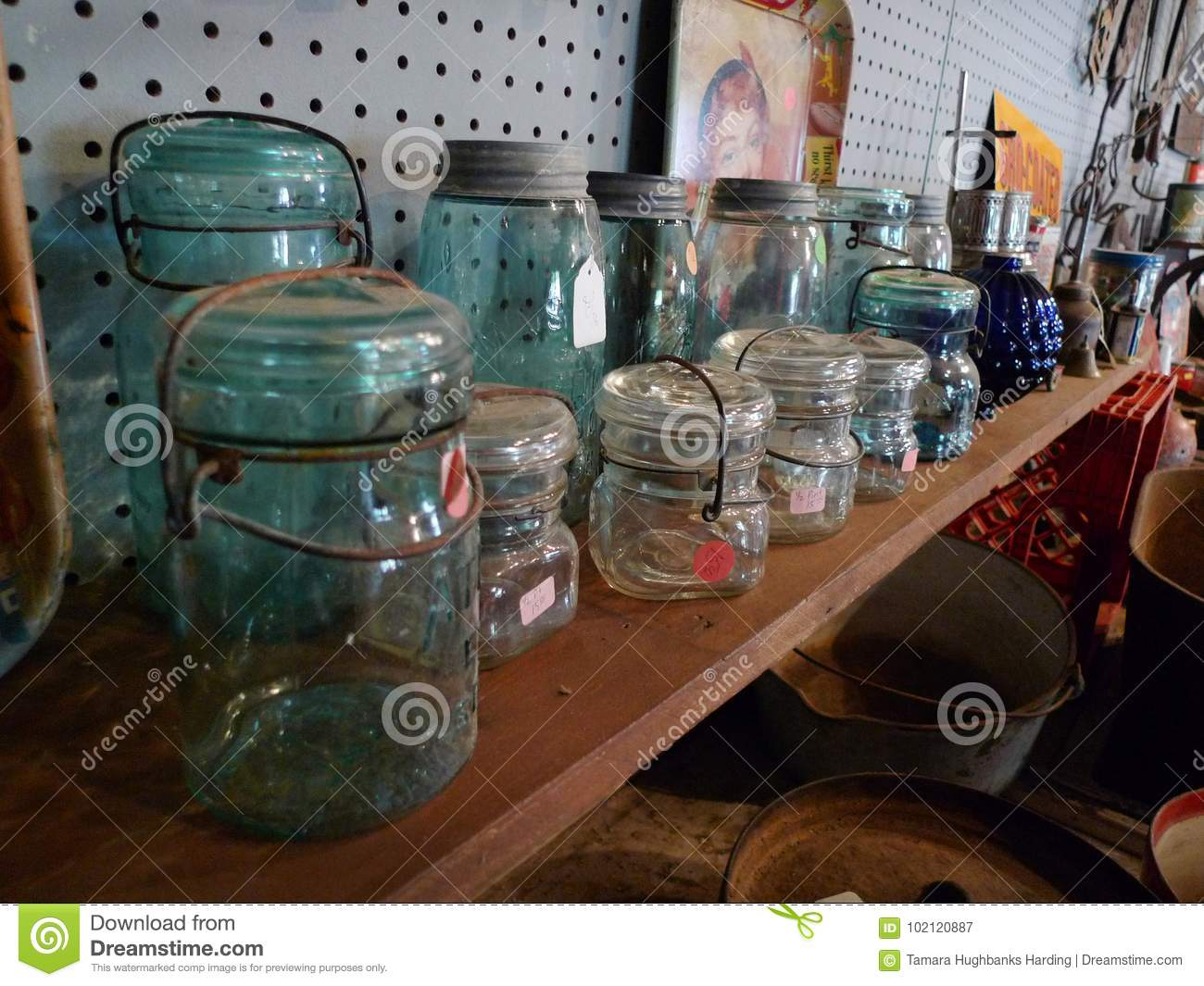 Antique Glassware Canning Jars With Lightening Lids Editorial