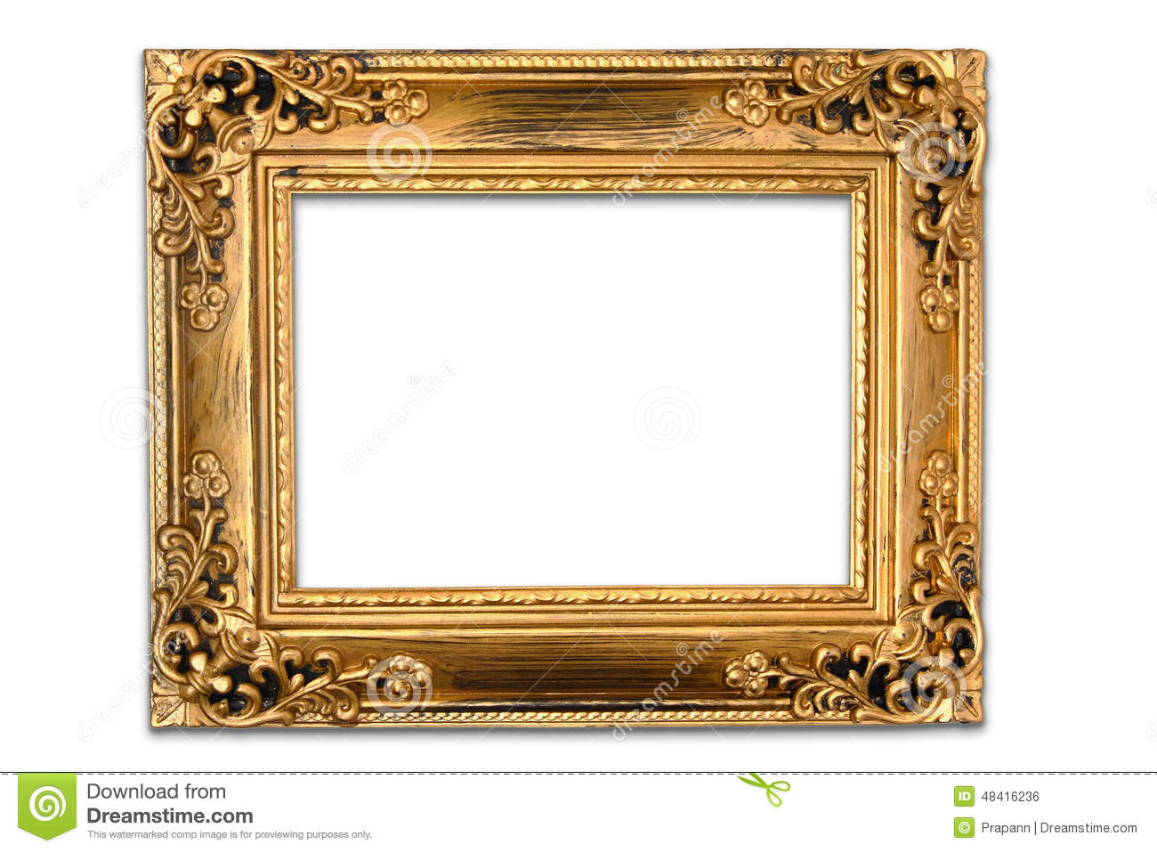 The antique gold frame on the white background stock photo image the antique gold frame on the white background jeuxipadfo Gallery