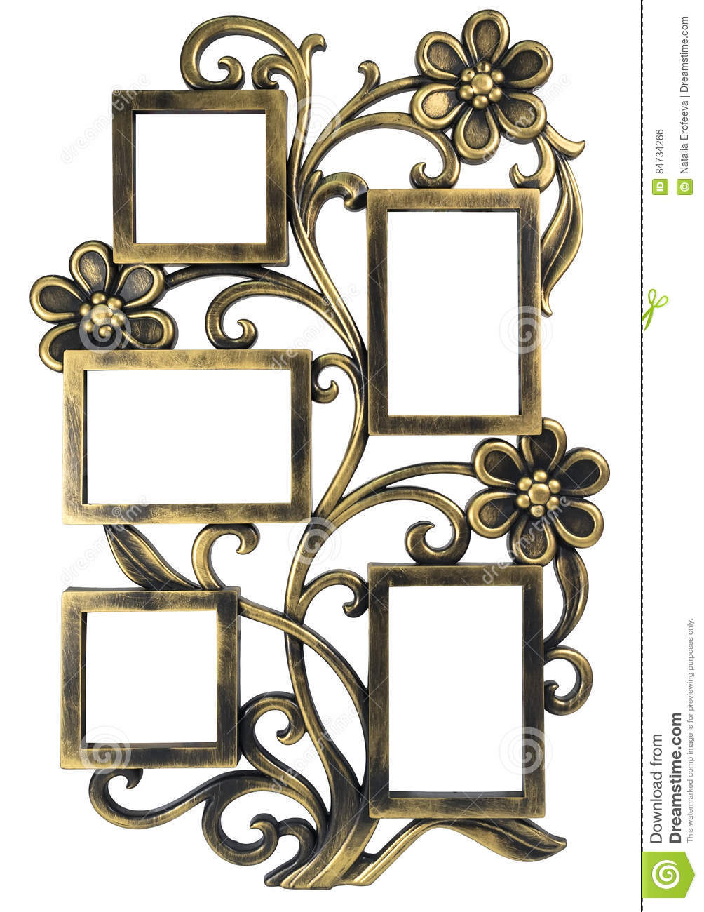 Antique golden photo frame with elements of floral forged ornament. Set 5 five frames. isolated on white background