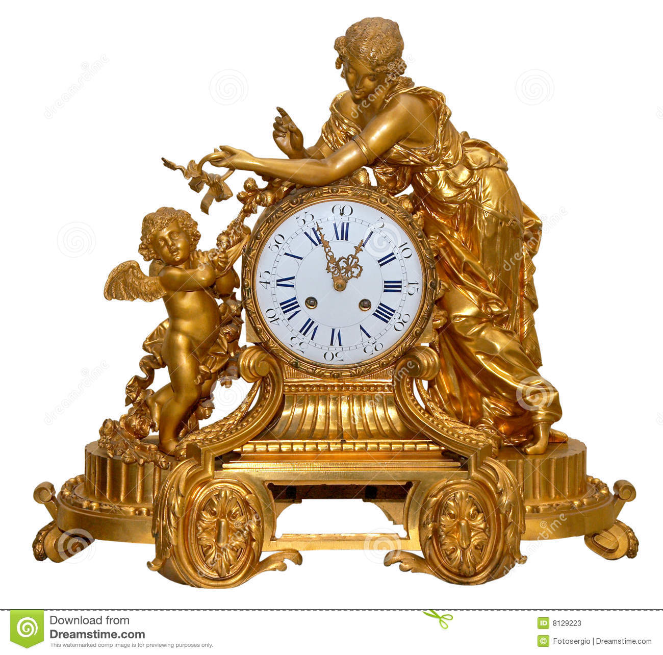 Antique Golden Table Clocks Stock Image Image Of Closeup