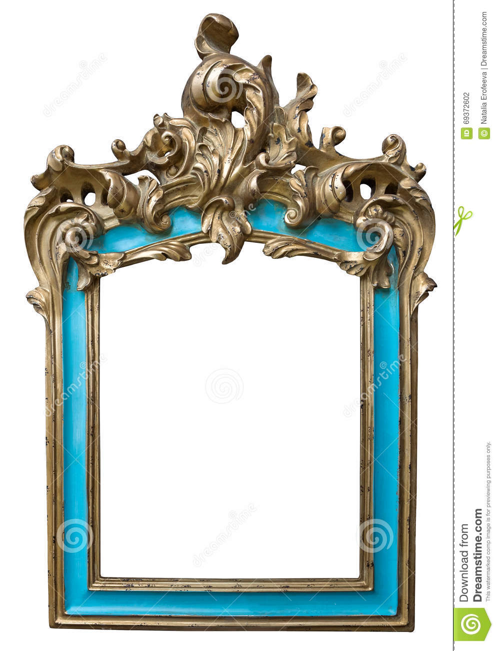 Antique golden turquoise frame isolated on white background