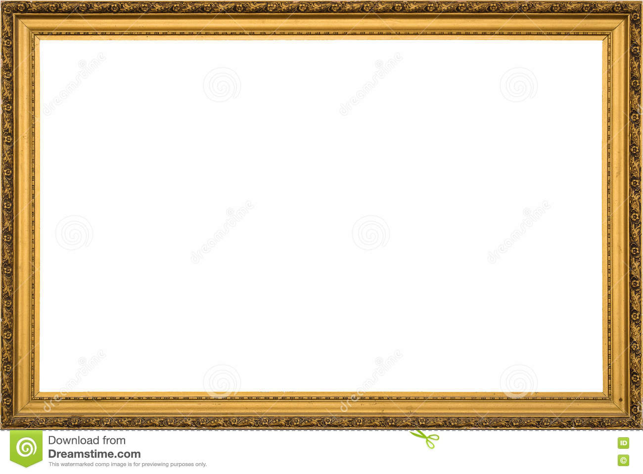 Antique Golden Wooden Frame Isolated On White Background Stock Image ...