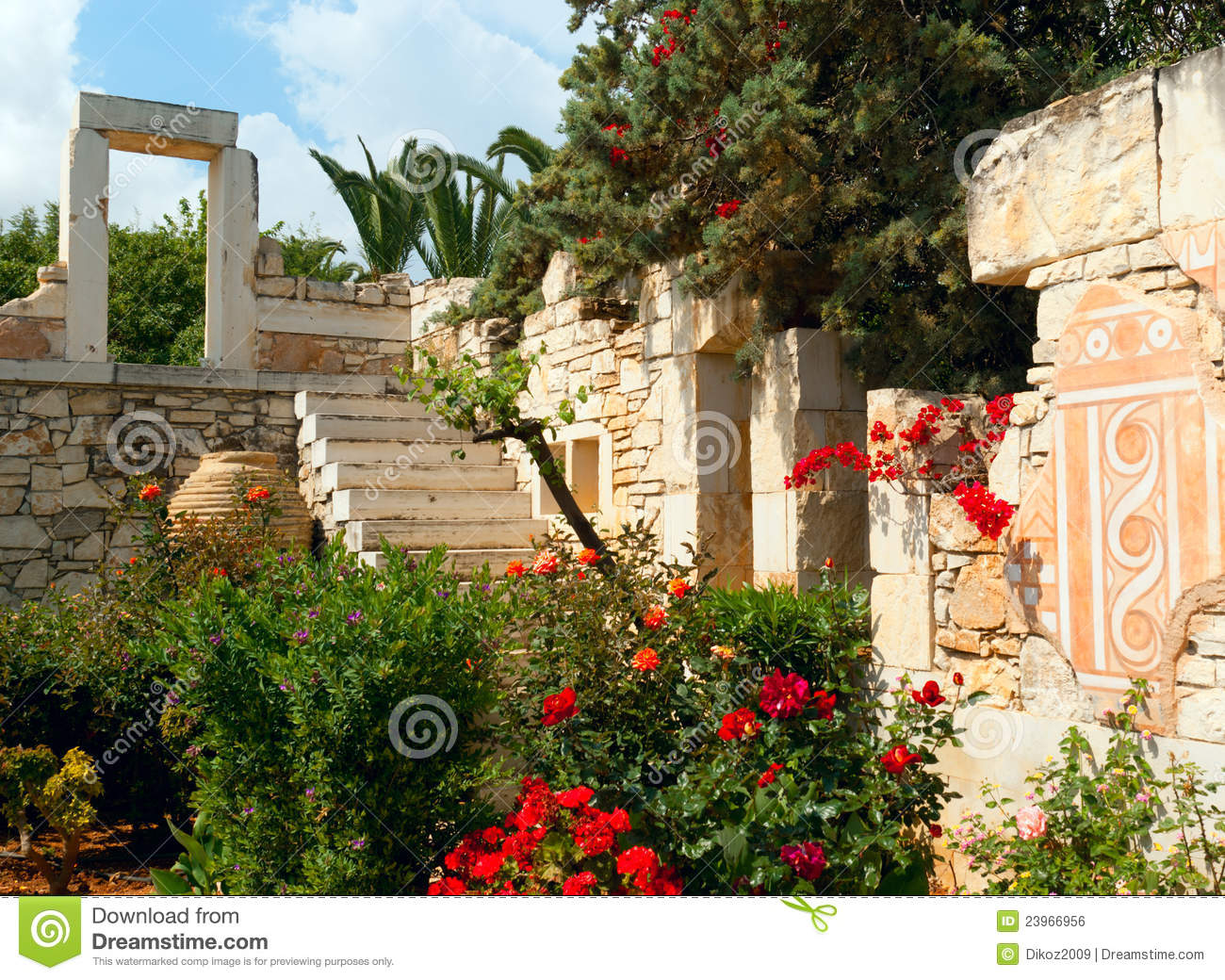 The Antique Greek Style Design In Garden Royalty Free