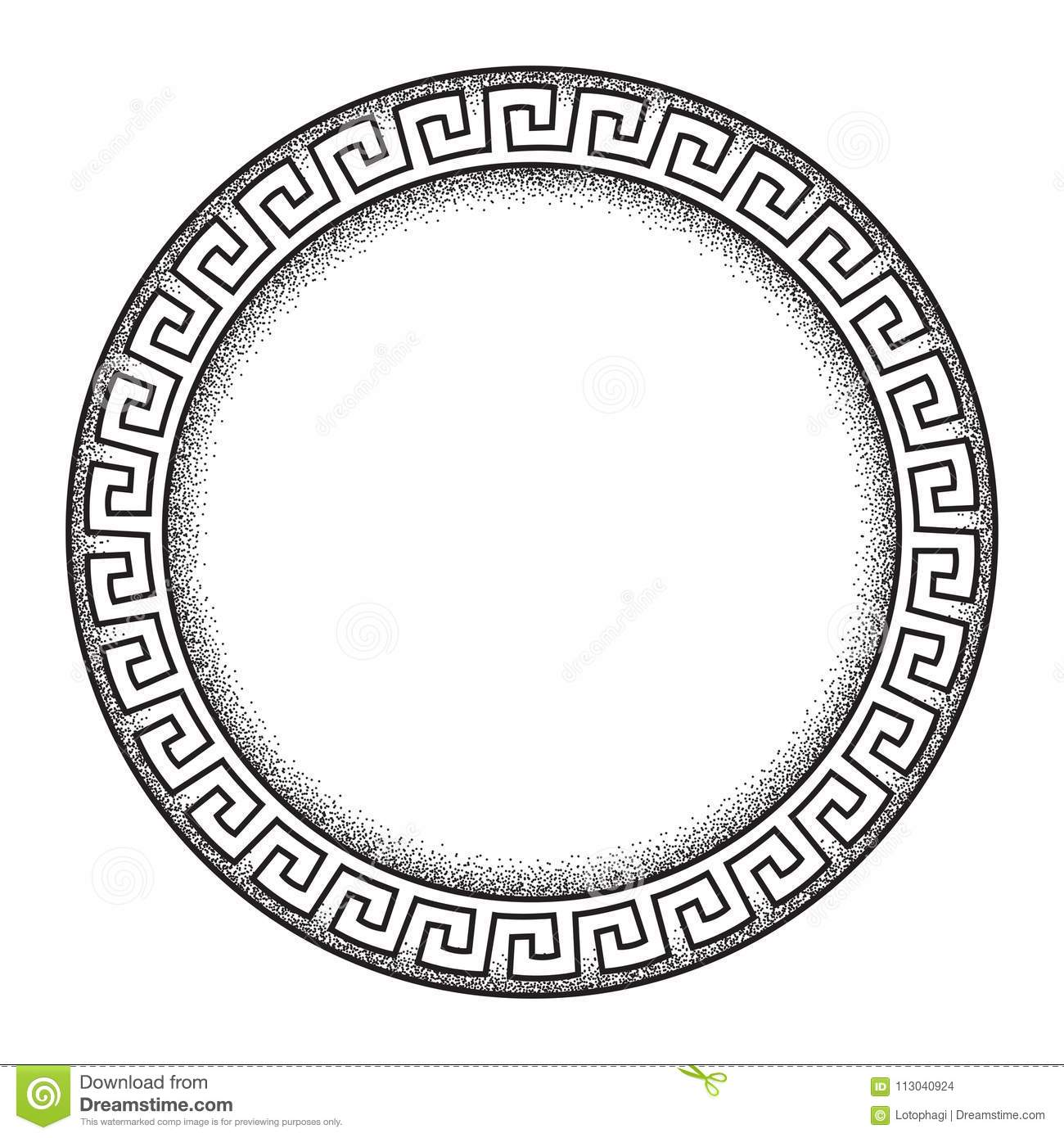 Antique greek style meander ornanent hand drawn line art and dot work round frame design vector illustration.