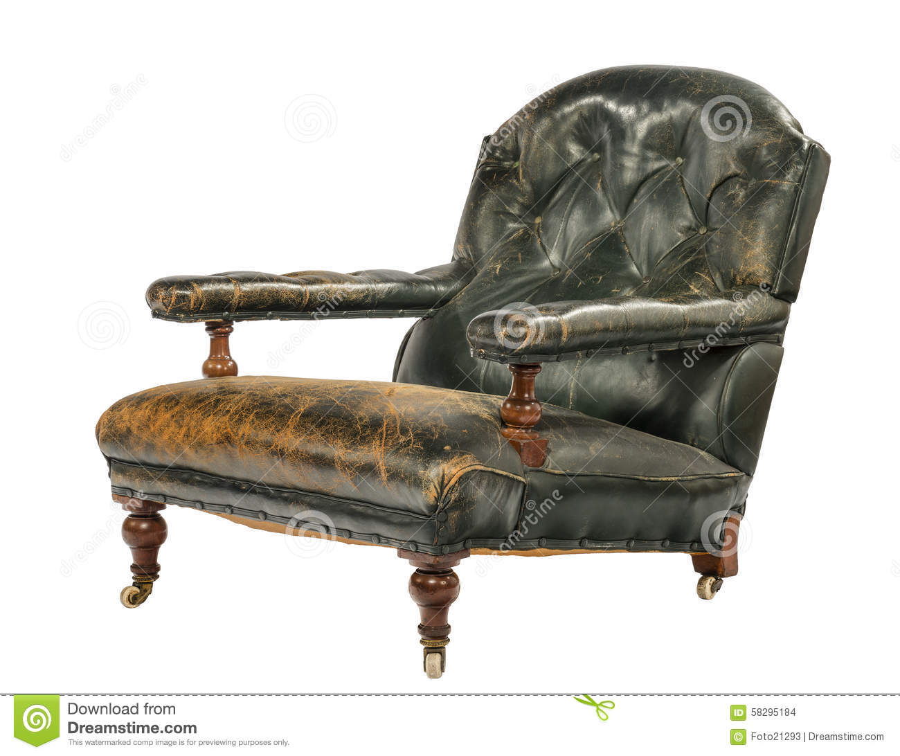 Antique Green Leather Low Arm Chair Isolated On White Stock Photo Image 58295184
