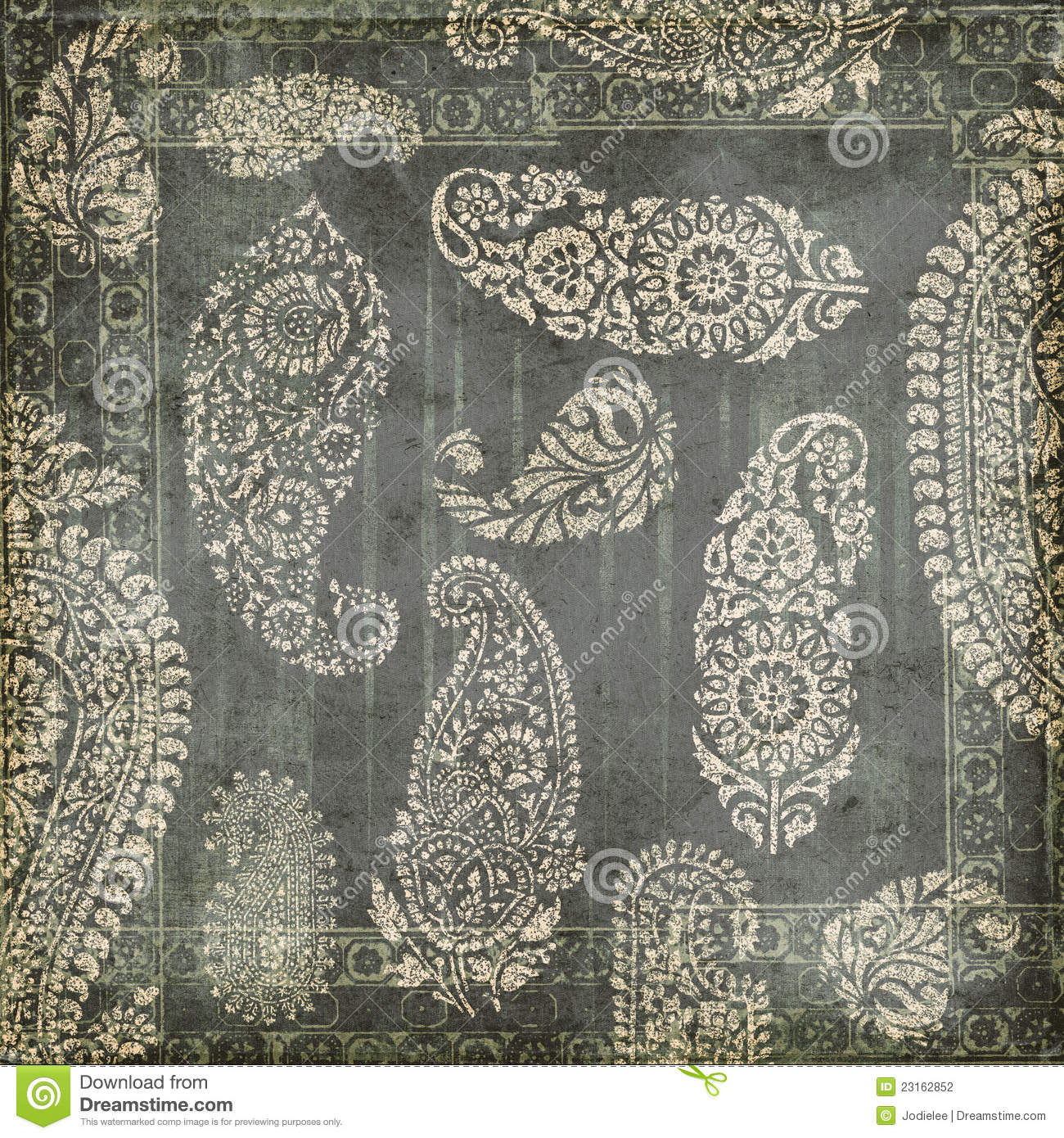 Antique Grungy Vintage Paisley Indian Background Stock