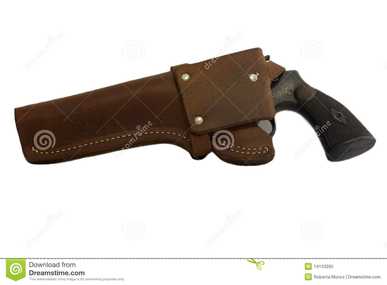 Antique gun in a holster stock image  Image of cutouts