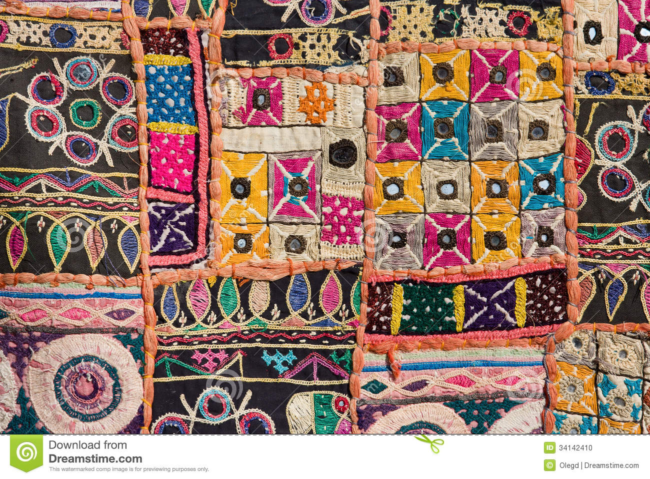 Antique Indian Stitched Fabric Pattern Stock Photo Image