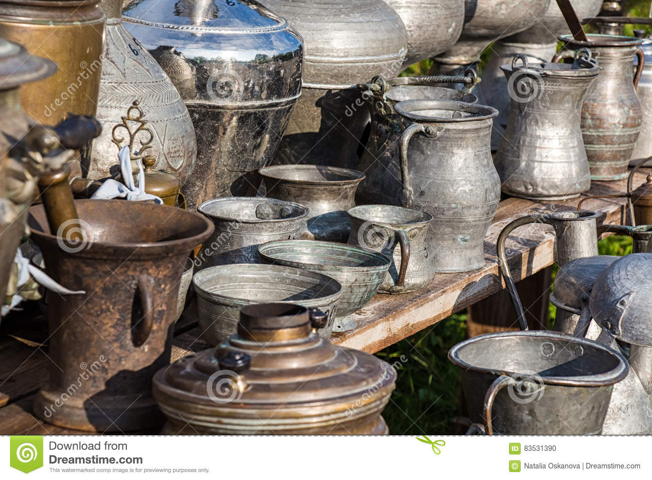 Antique jugs and dishes