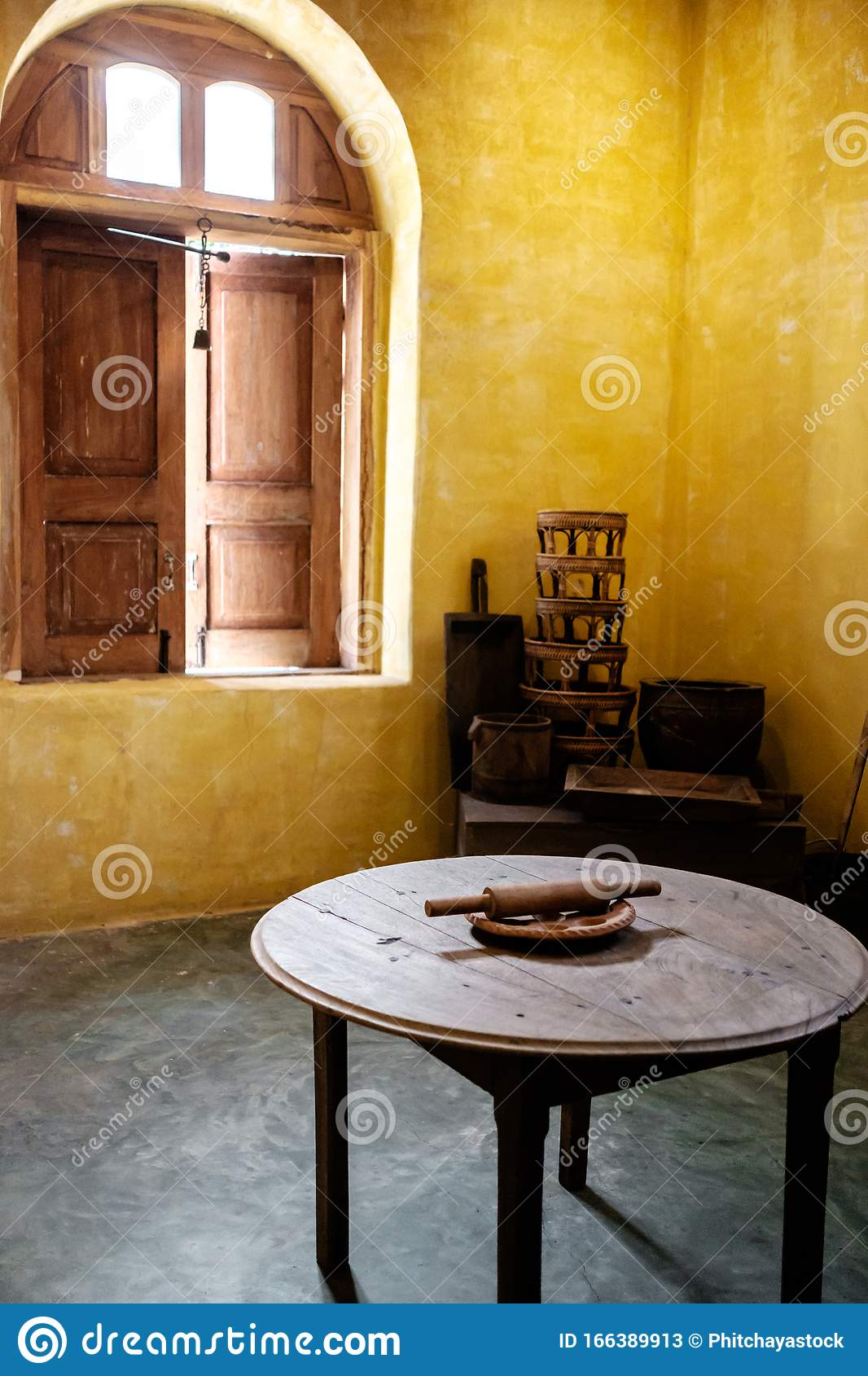 Antique Kitchen Decoration With Potteries And Photo Frames Stock Image Image Of Decor Interior 166389913