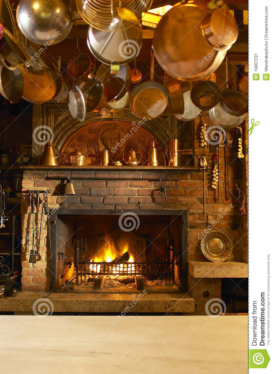 Antique Kitchen With Fireplace Stock Image - Image: 16807231