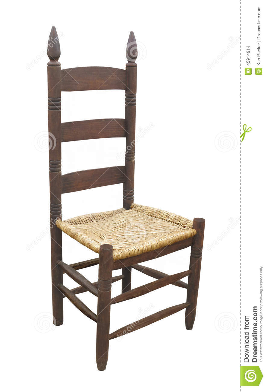 Royalty-Free Stock Photo. Download Antique Ladder Back Chair ... - Antique Ladder Back Chair Isolated. Stock Photo - Image: 45914914